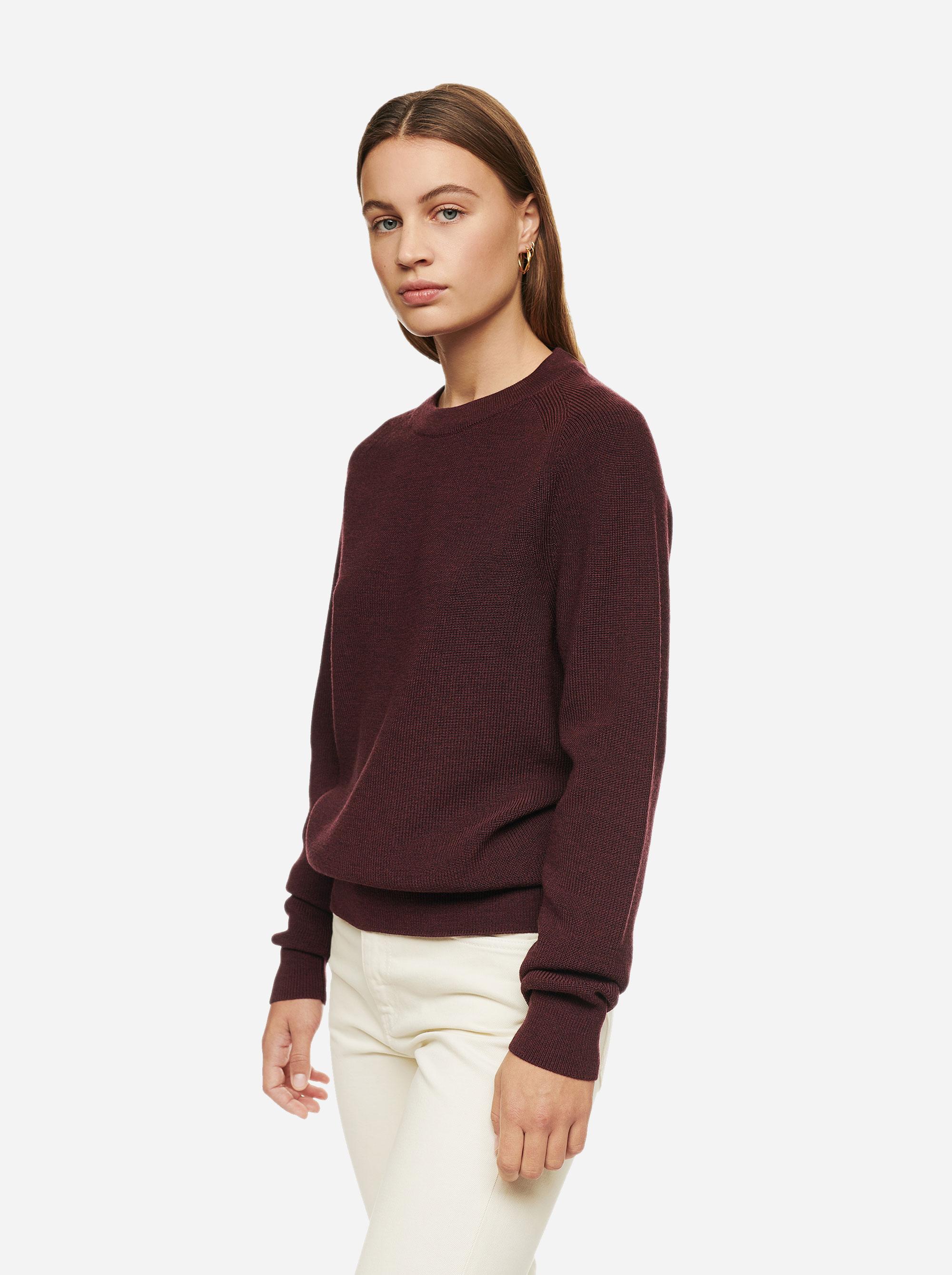 Teym - Crewneck - The Merino Sweater - Women - Burgundy - 2