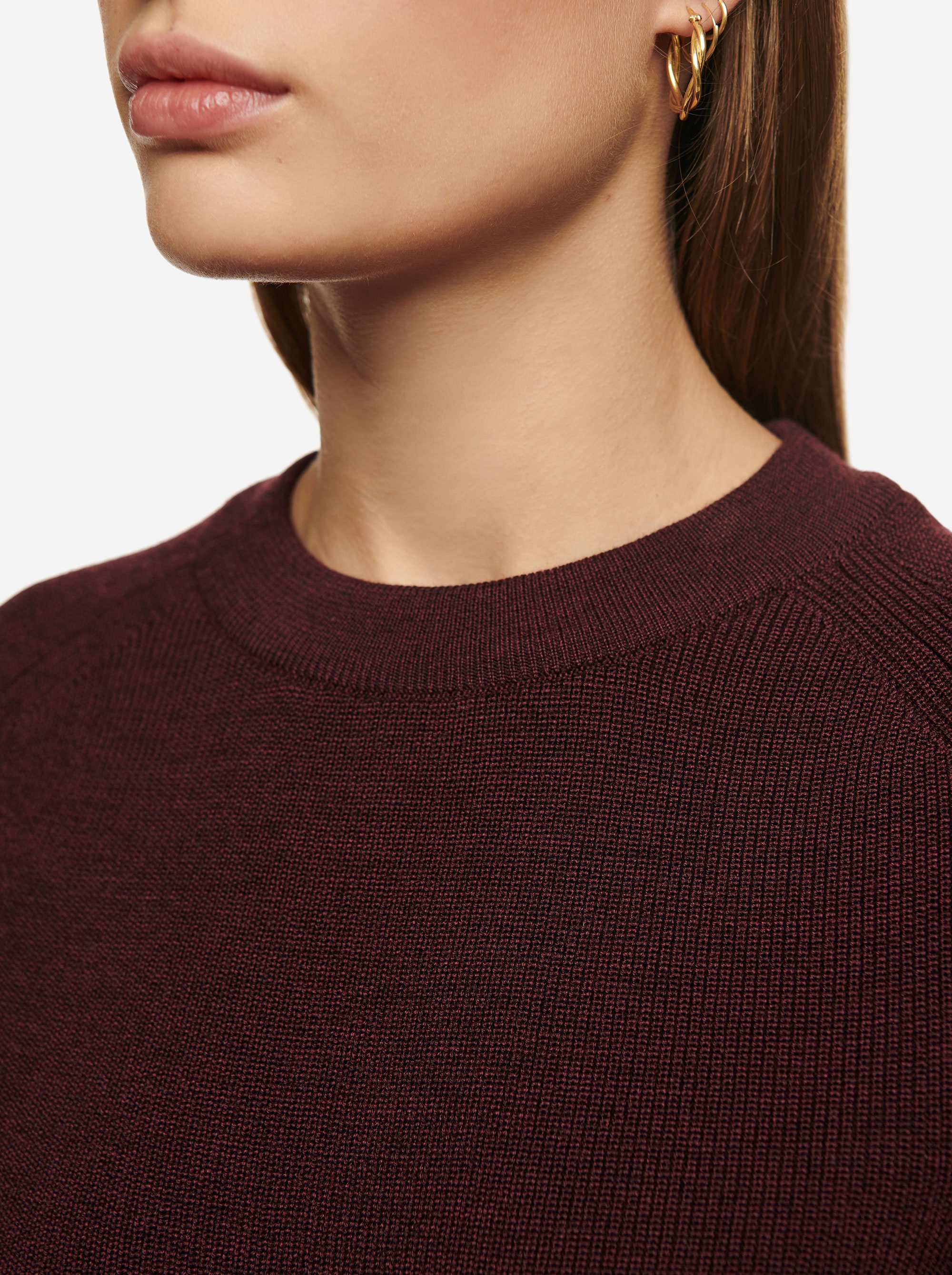 Teym - Crewneck - The Merino Sweater - Women - Burgundy - 3