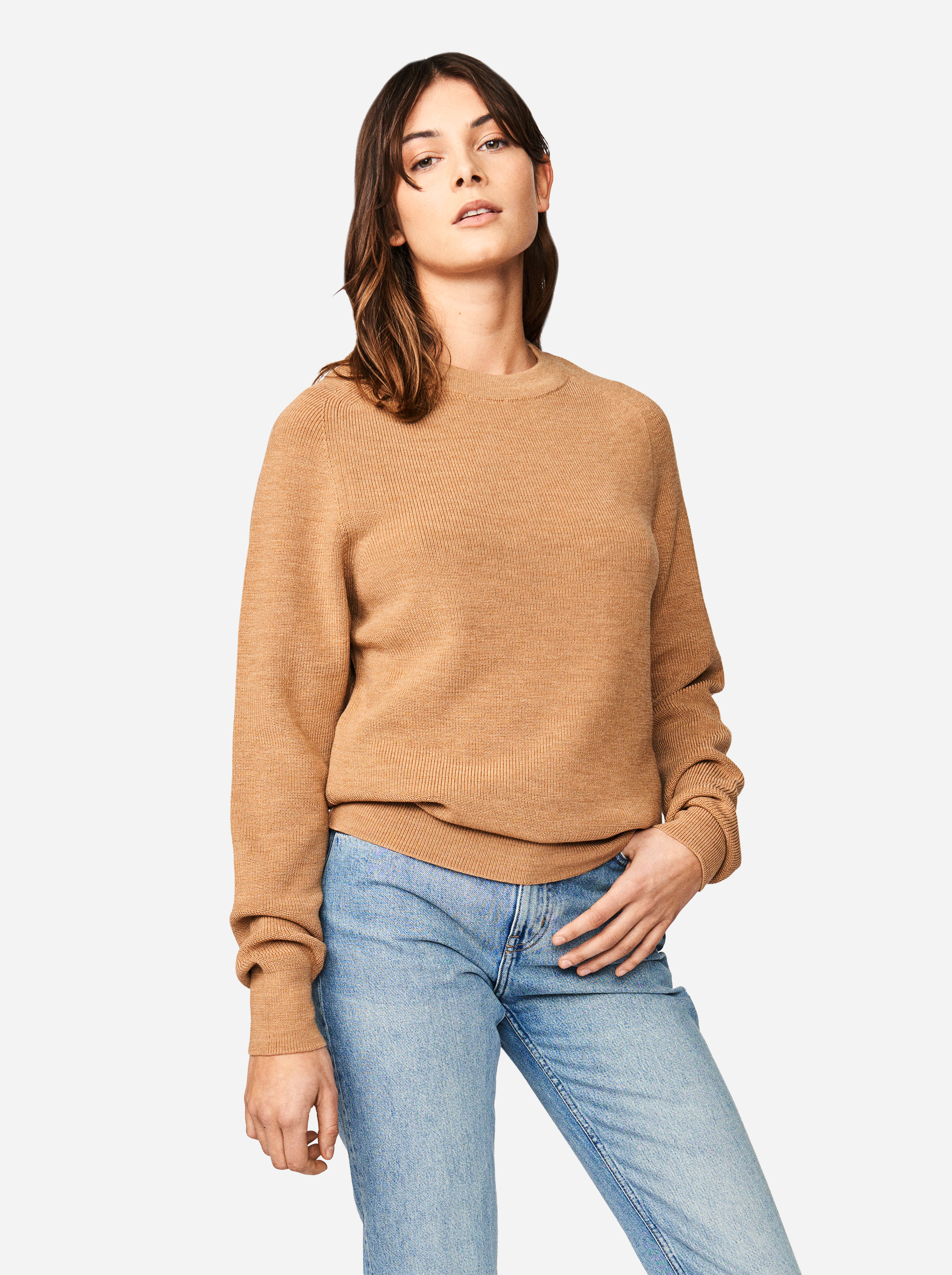 Teym - Crewneck - The Merino Sweater - Women - Camel - 3
