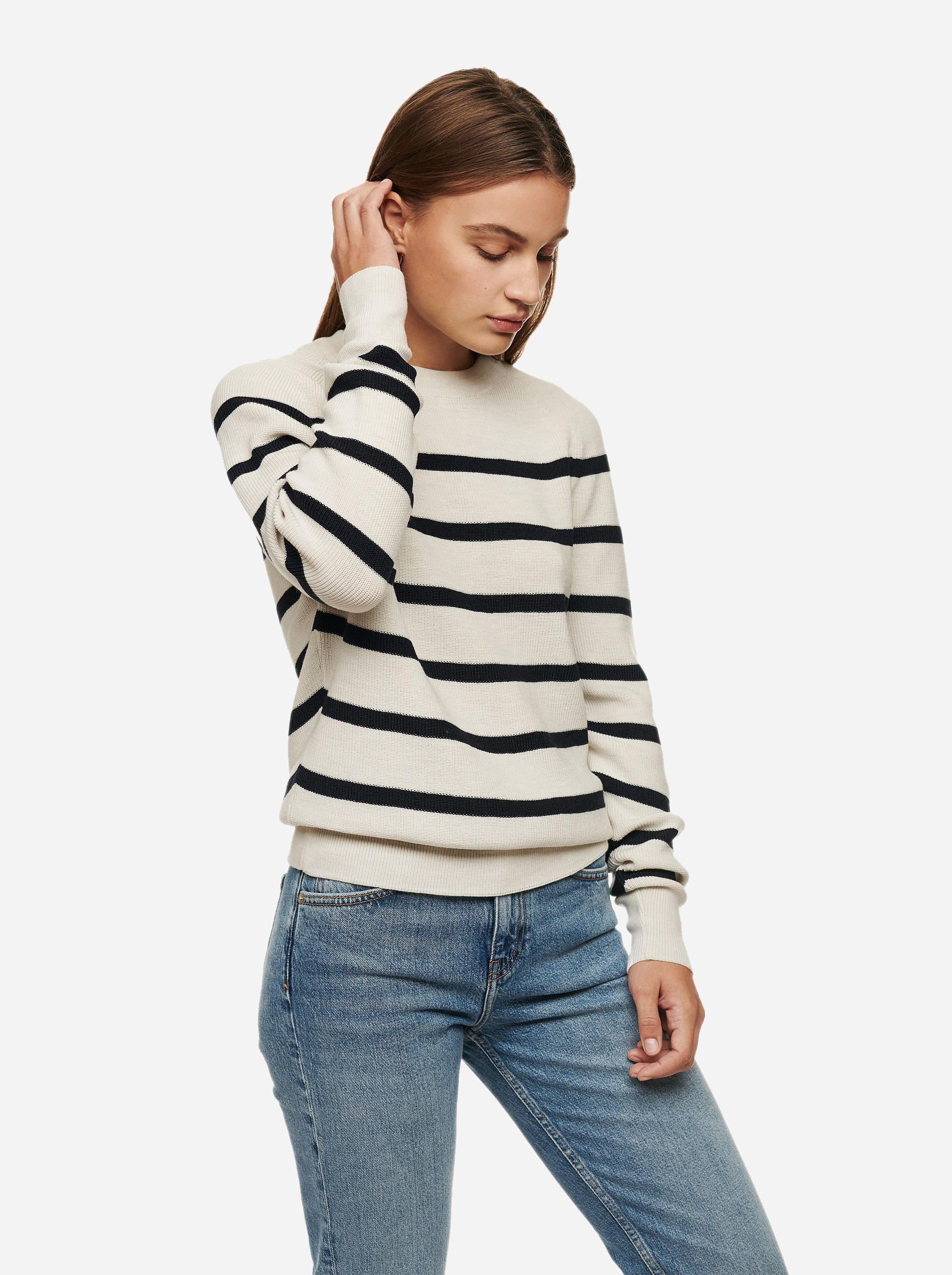 Teym - Crewneck - The Merino Sweater - Women - Striped - 1