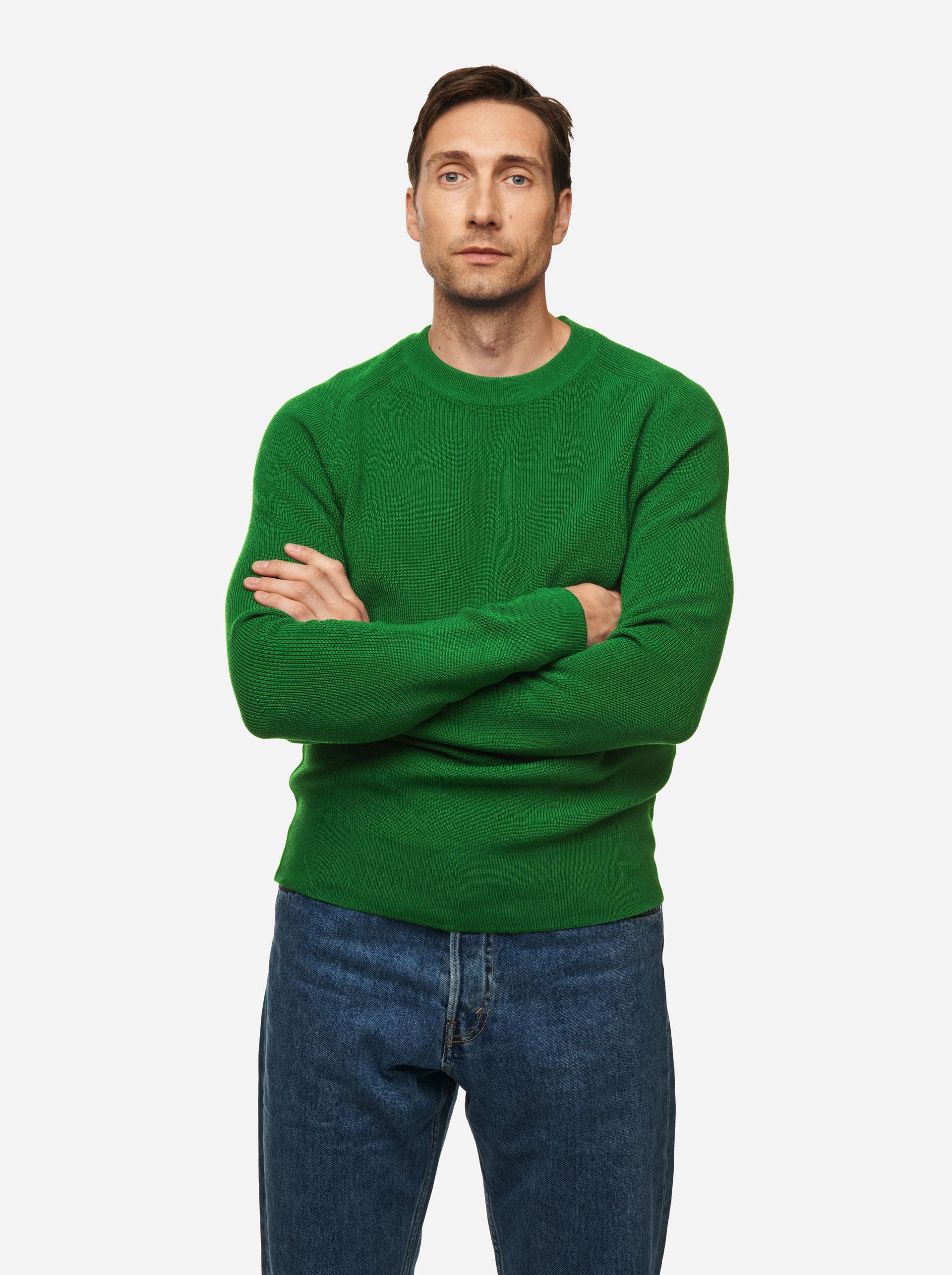 Teym - The Merino Sweater - Men - Bright Green - 1