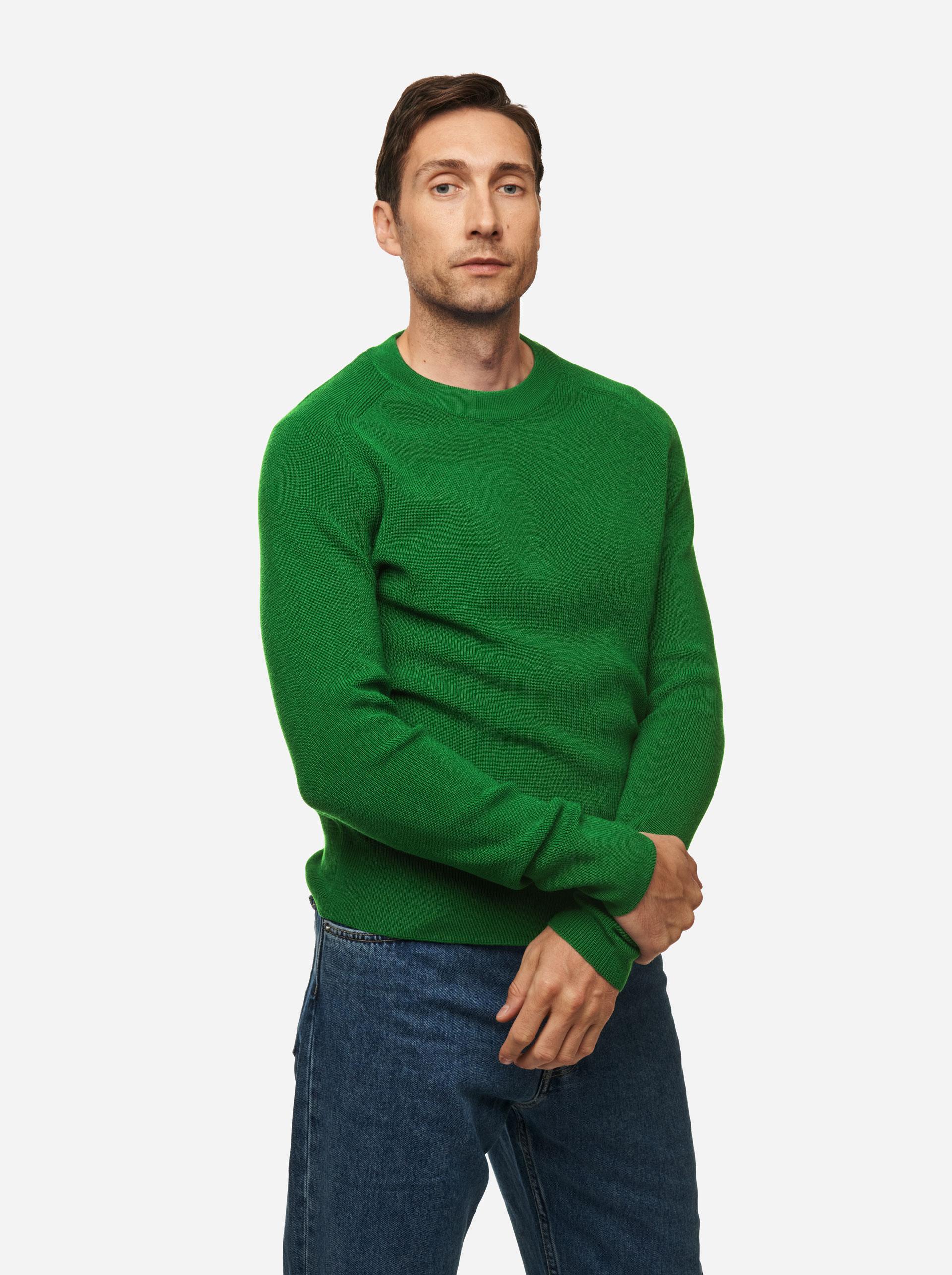 Teym - The Merino Sweater - Men - Bright Green - 3