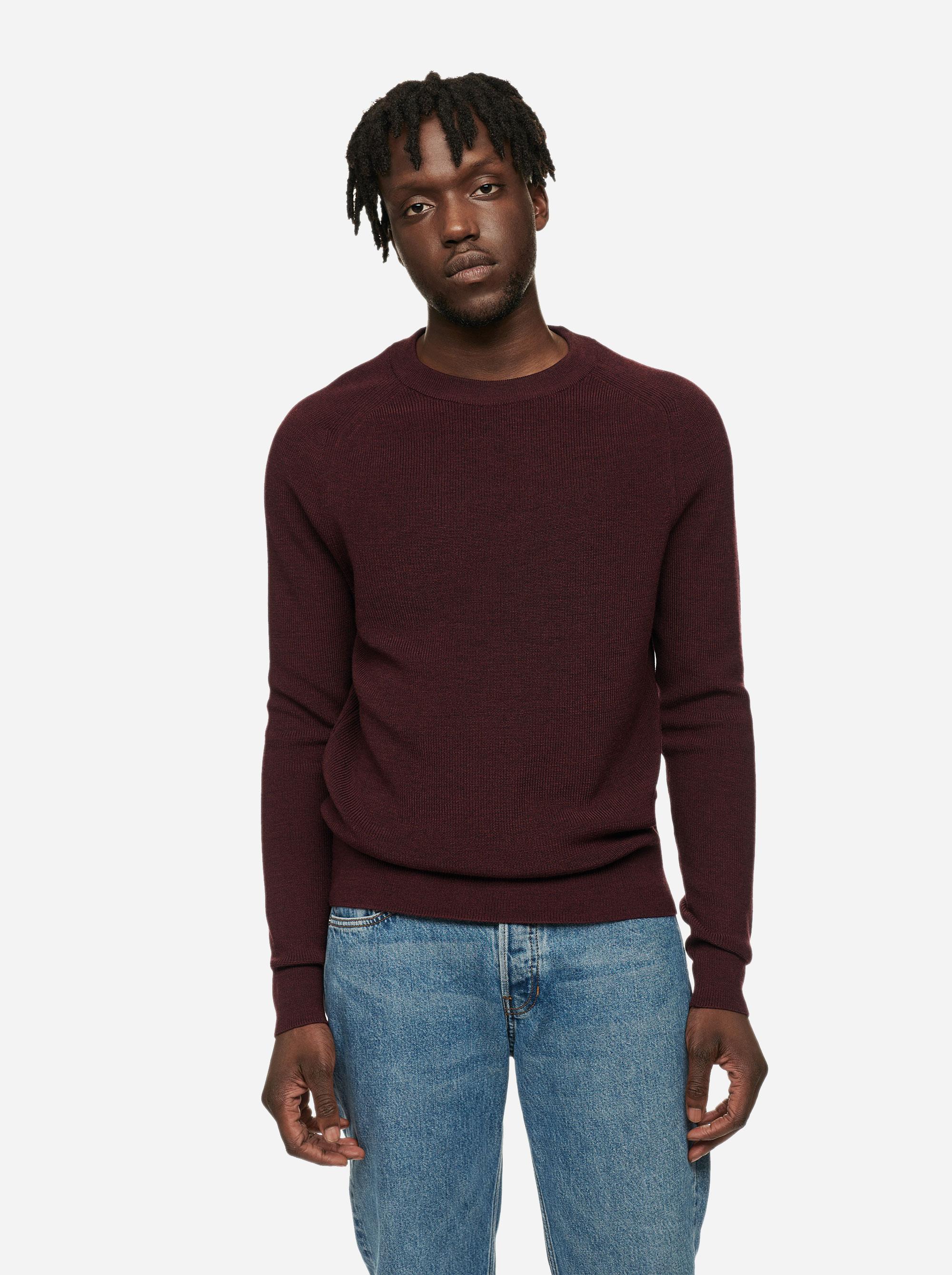 Teym - The Merino Sweater - Men - Burgundy - 1