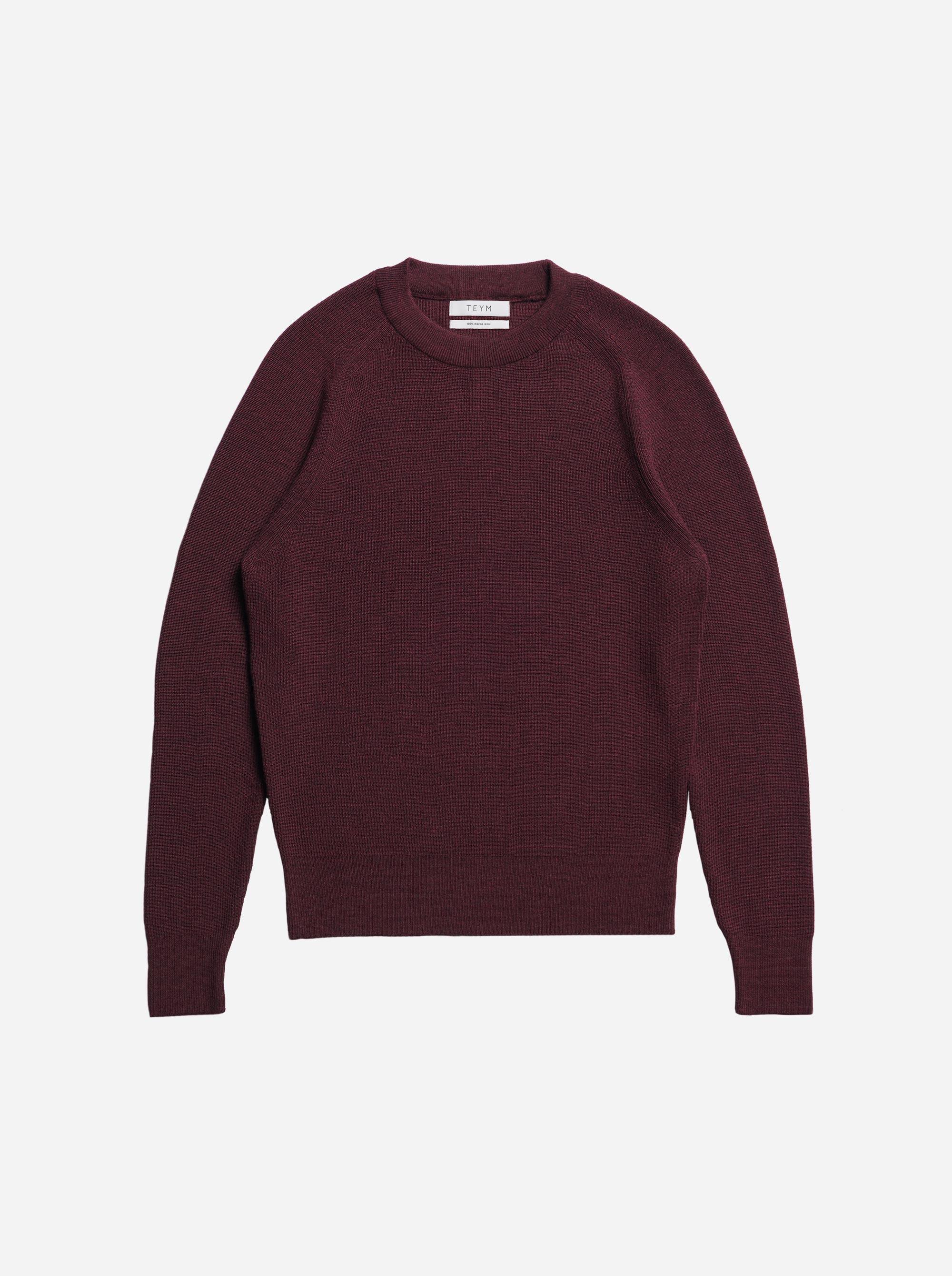 Teym - The Merino Sweater - Men - Burgundy - 4