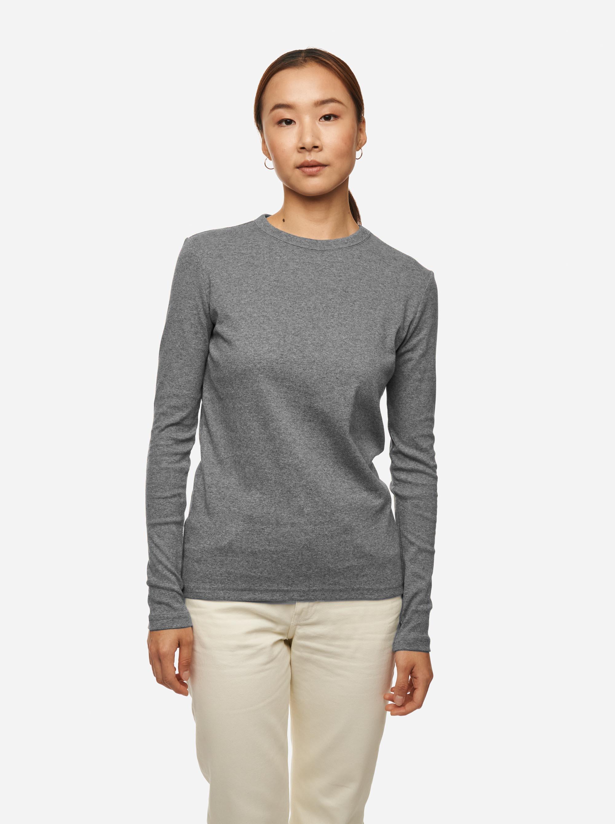Teym - The-T-Shirt - Longsleeve - Women - Melange Grey - 1B