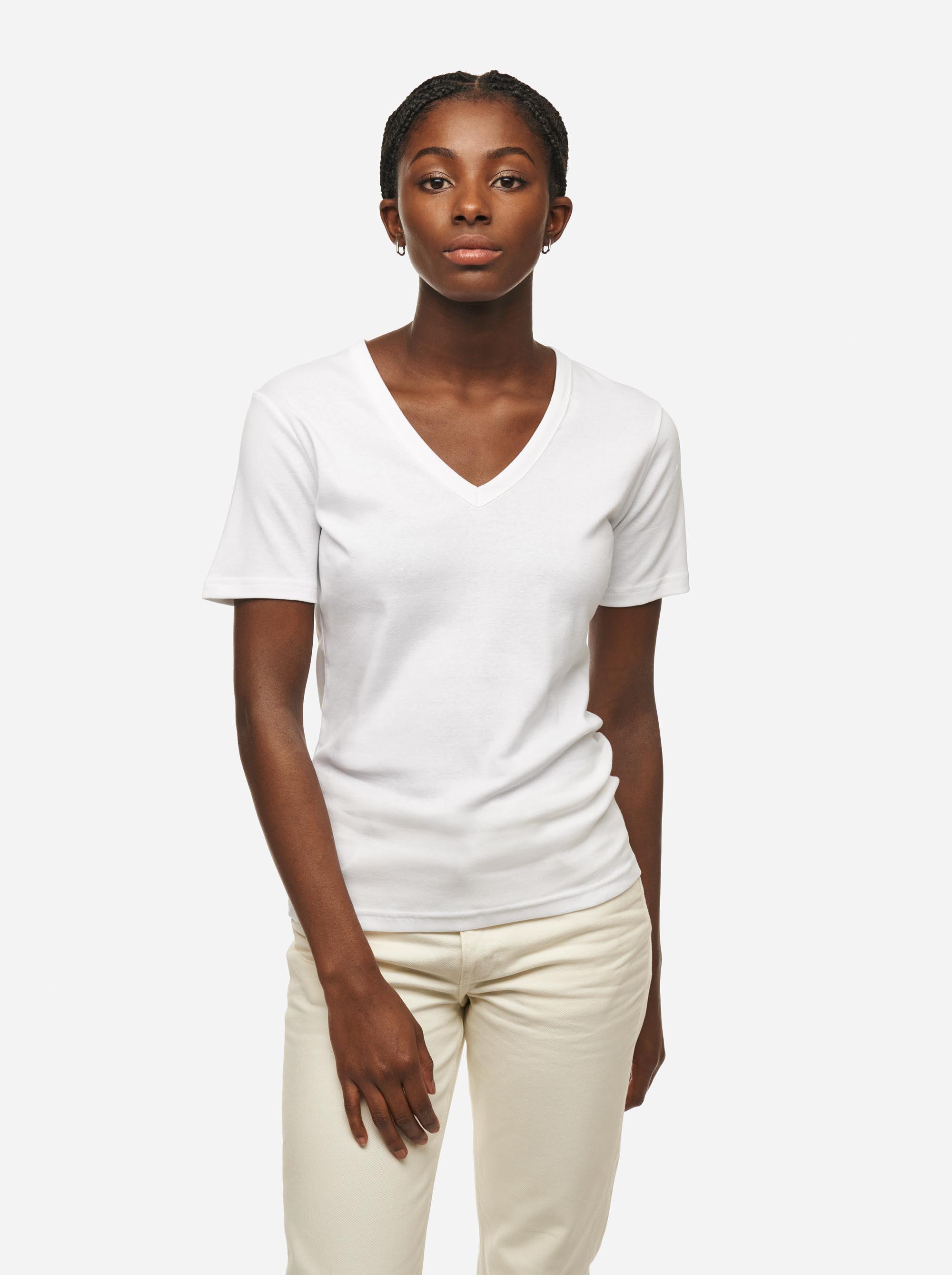 Teym - The T-Shirt - V-Neck - Women - White - 1