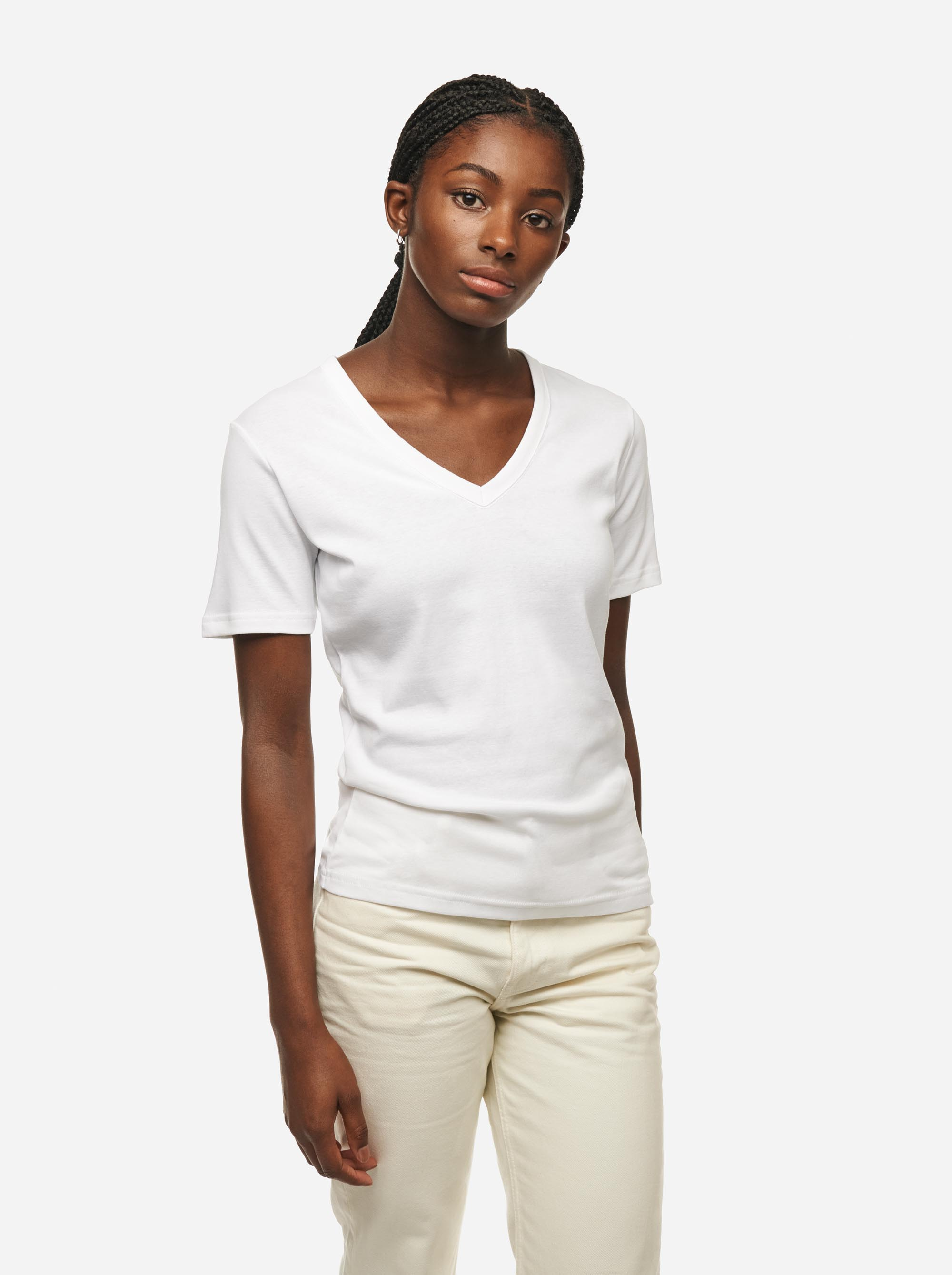 Teym - The T-Shirt - V-Neck - Women - White - 2