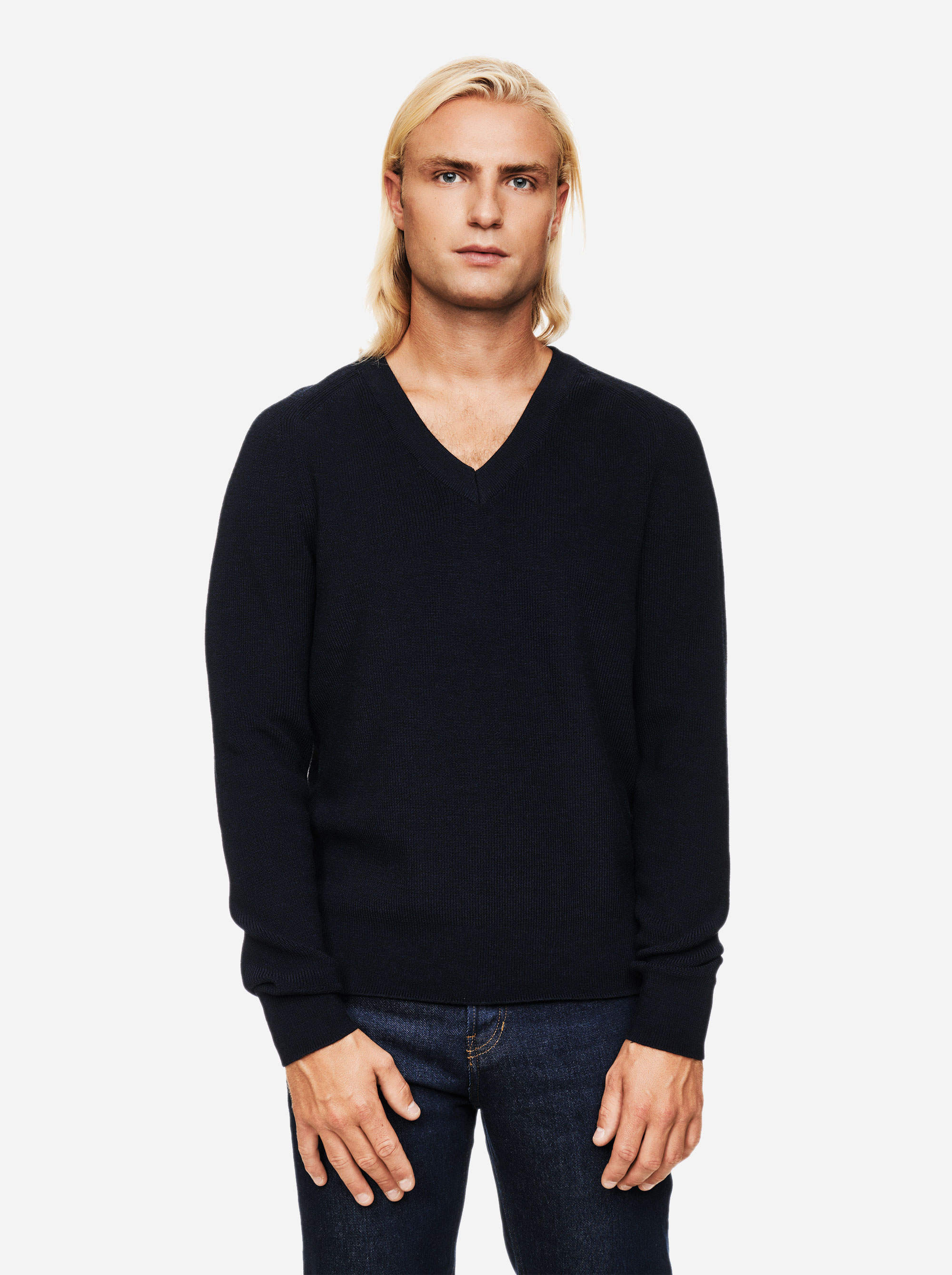 Teym - V-Neck - The Merino Sweater - Men - Blue - 1