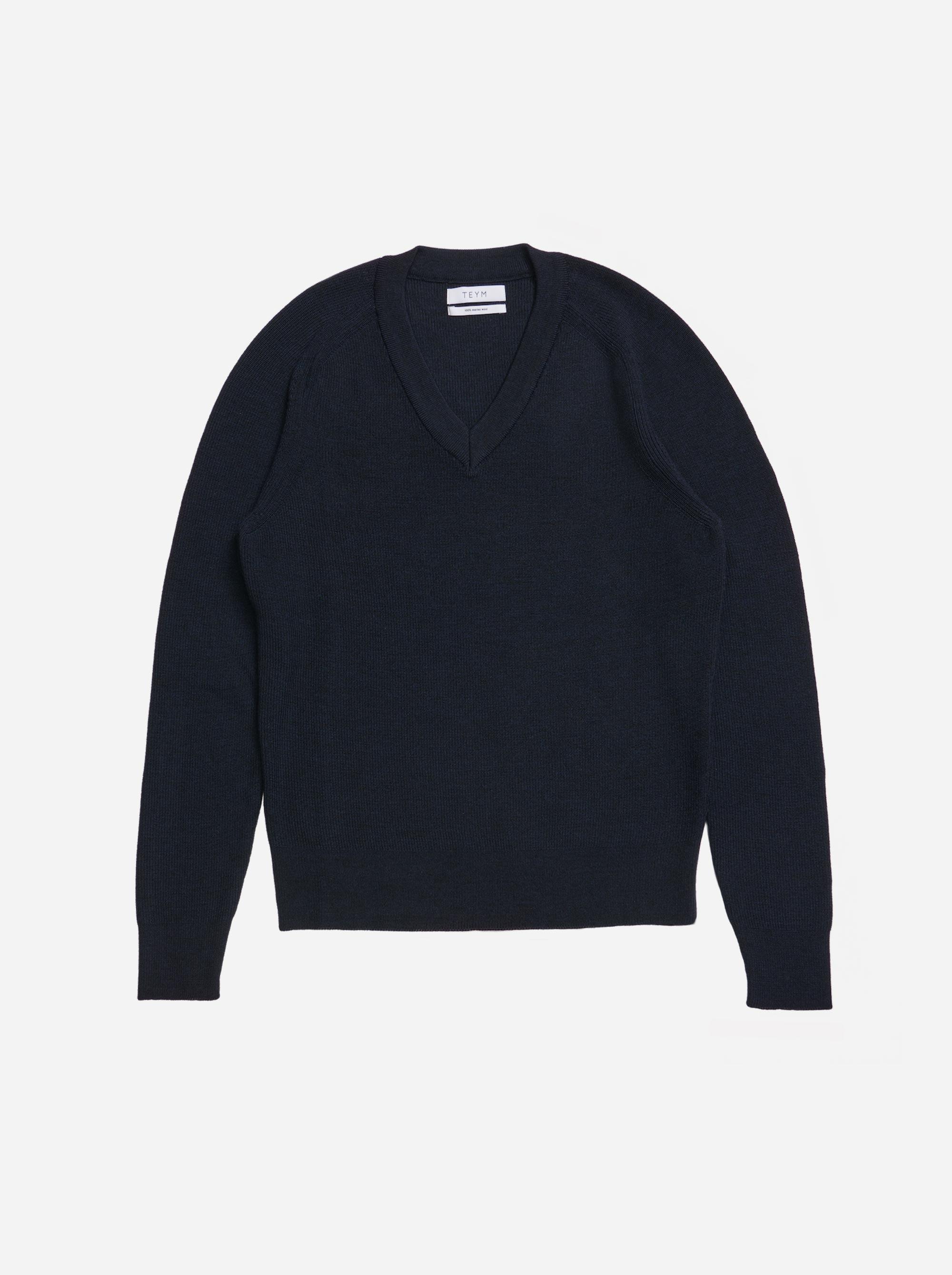 Teym - V-Neck - The Merino Sweater - Men - Blue - 4