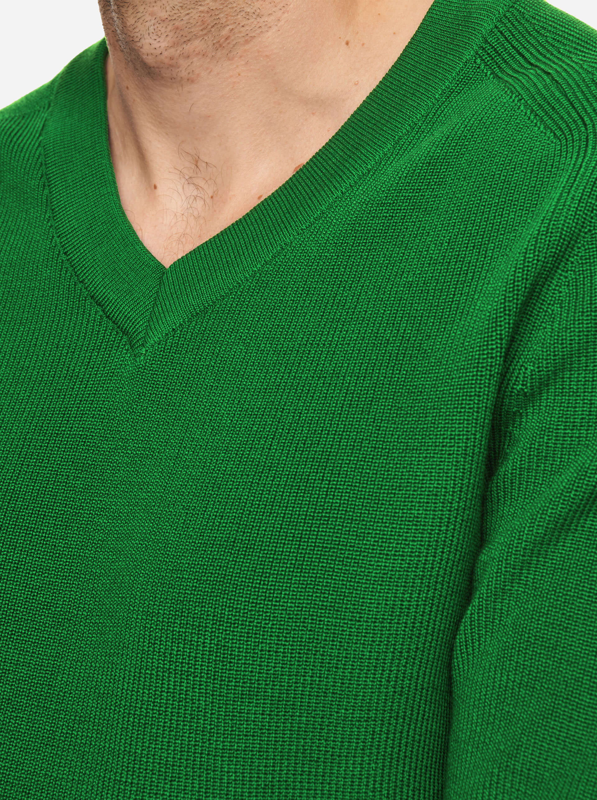 Teym - V-Neck - The Merino Sweater - Men - Bright Green - 3