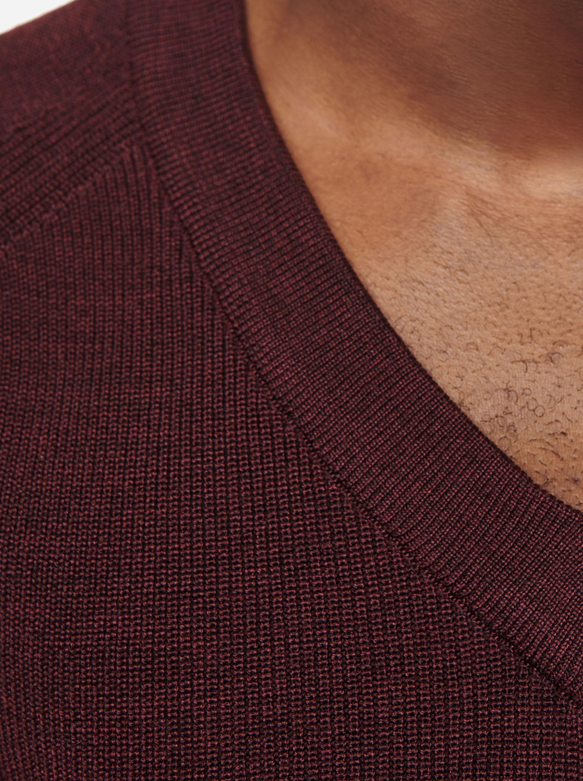 Teym - V-Neck - The Merino Sweater - Men - Burgundy - 2