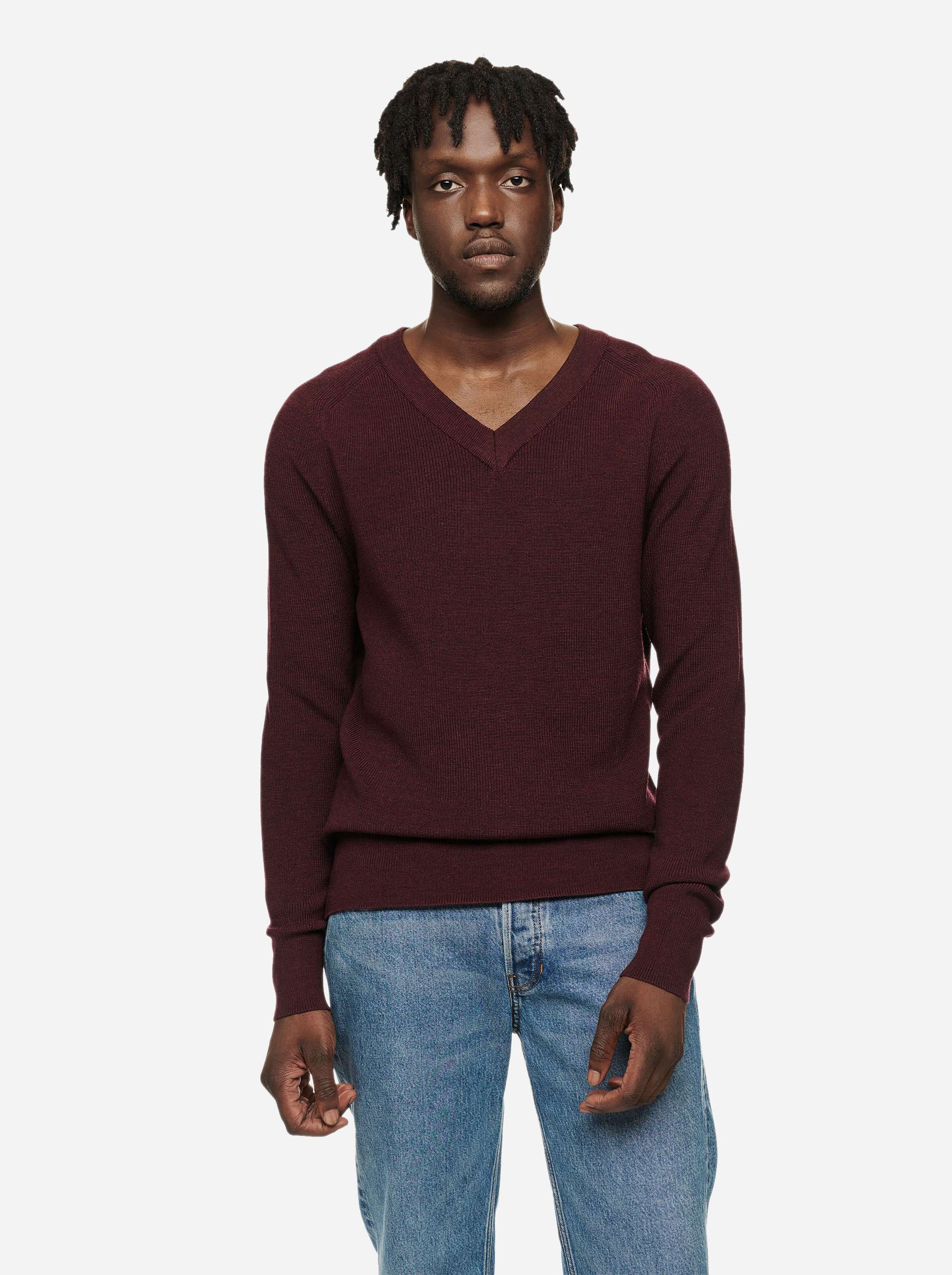 Teym - V-Neck - The Merino Sweater - Men - Burgundy - 3