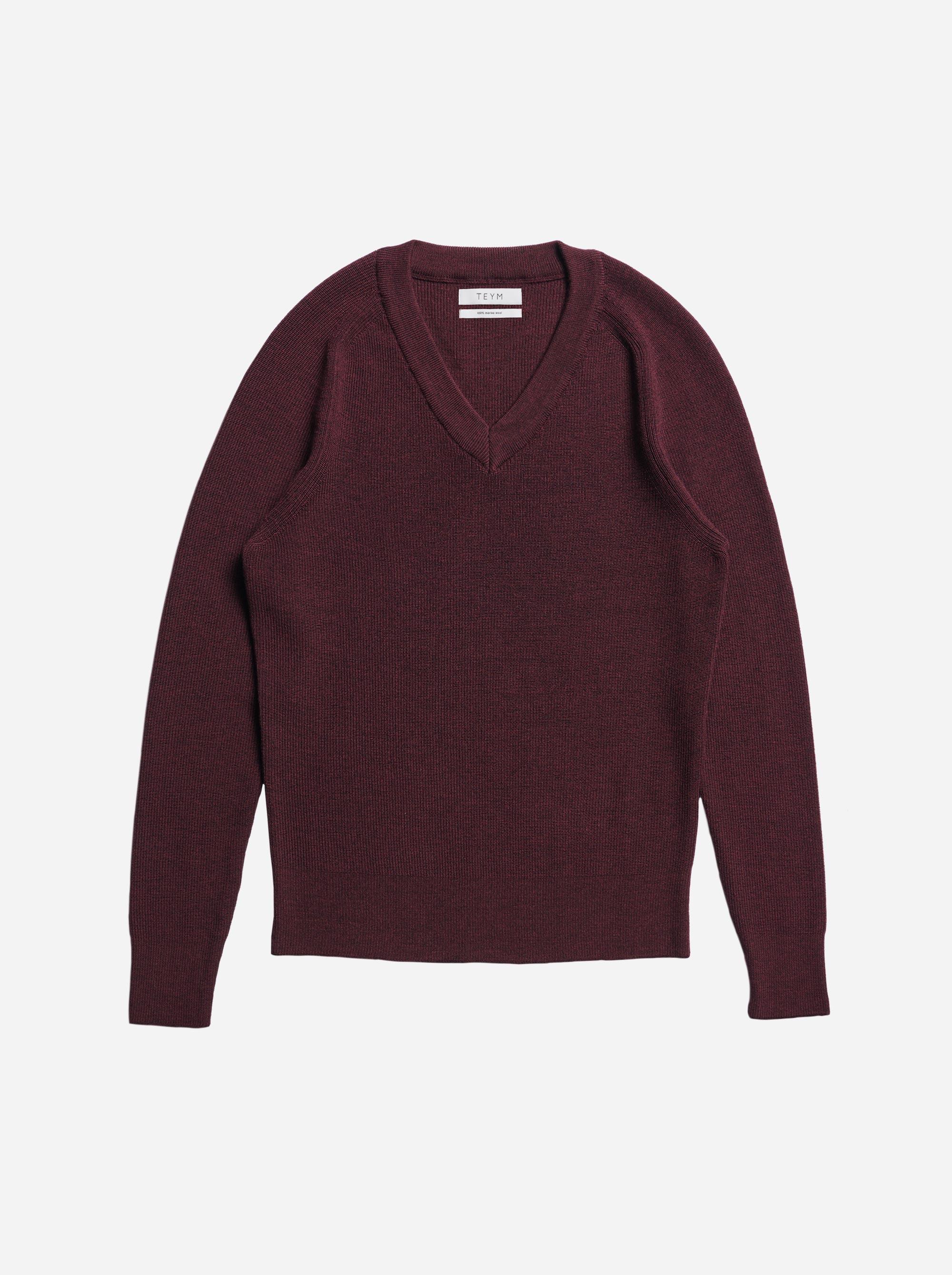 Teym - V-Neck - The Merino Sweater - Men - Burgundy - 4