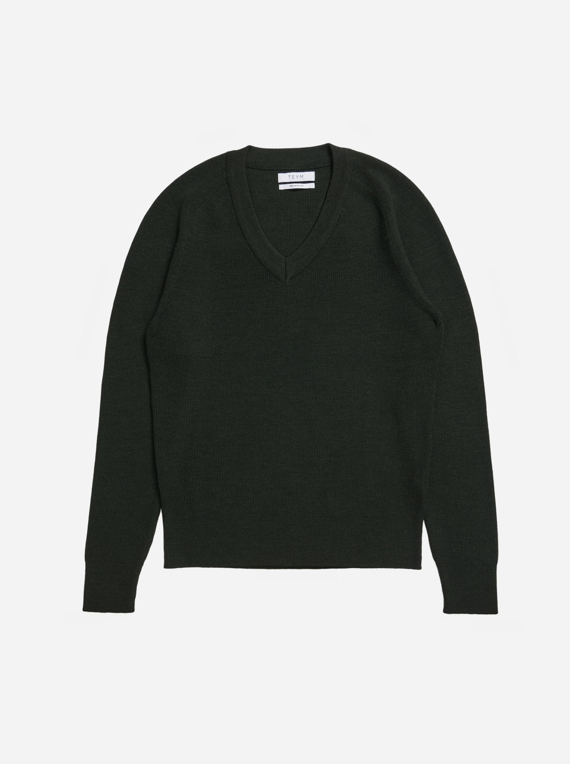Teym - V-Neck - The Merino Sweater - Men - Green - 4
