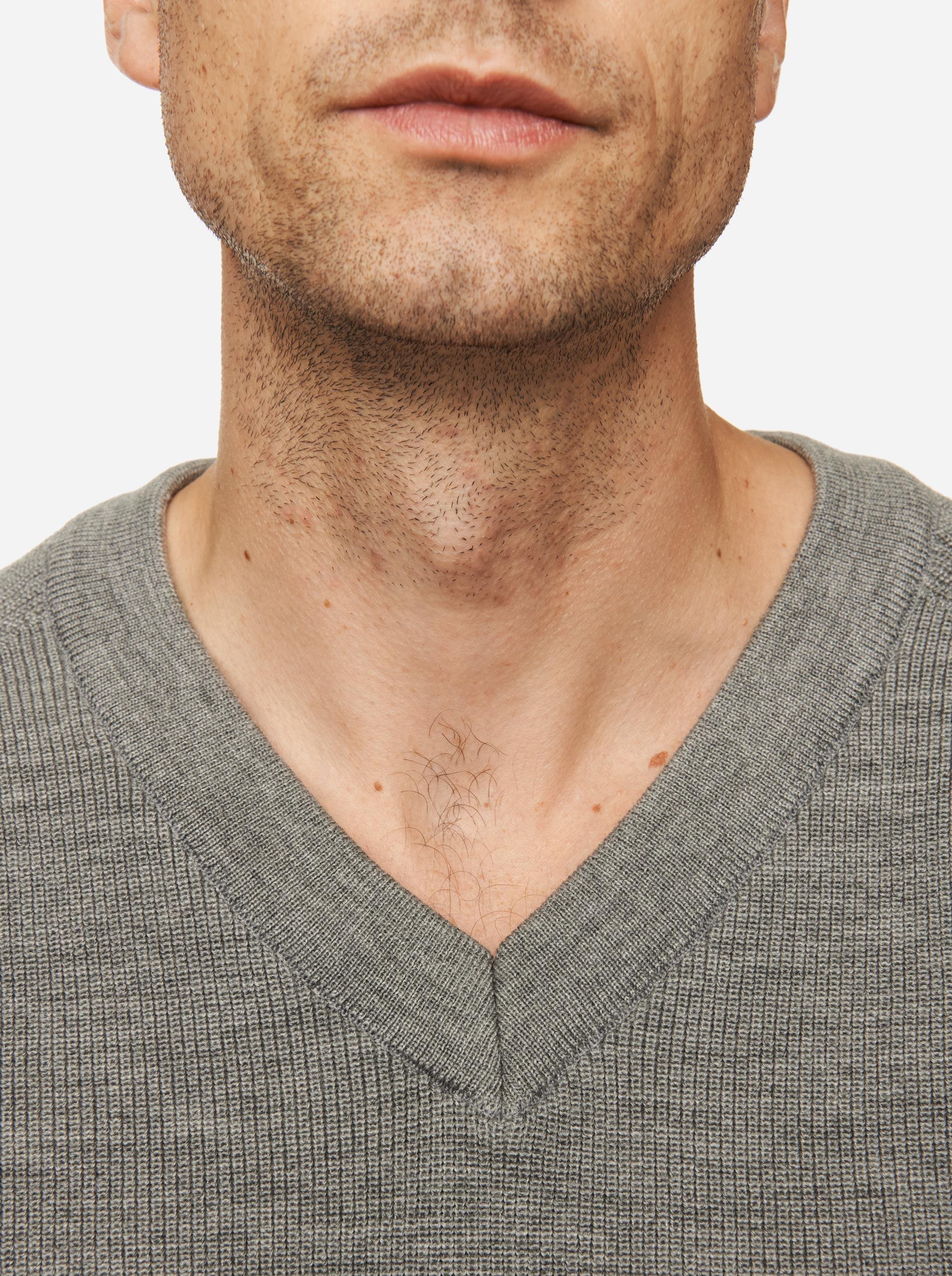 Teym - V-Neck - The Merino Sweater - Men - Grey - 3