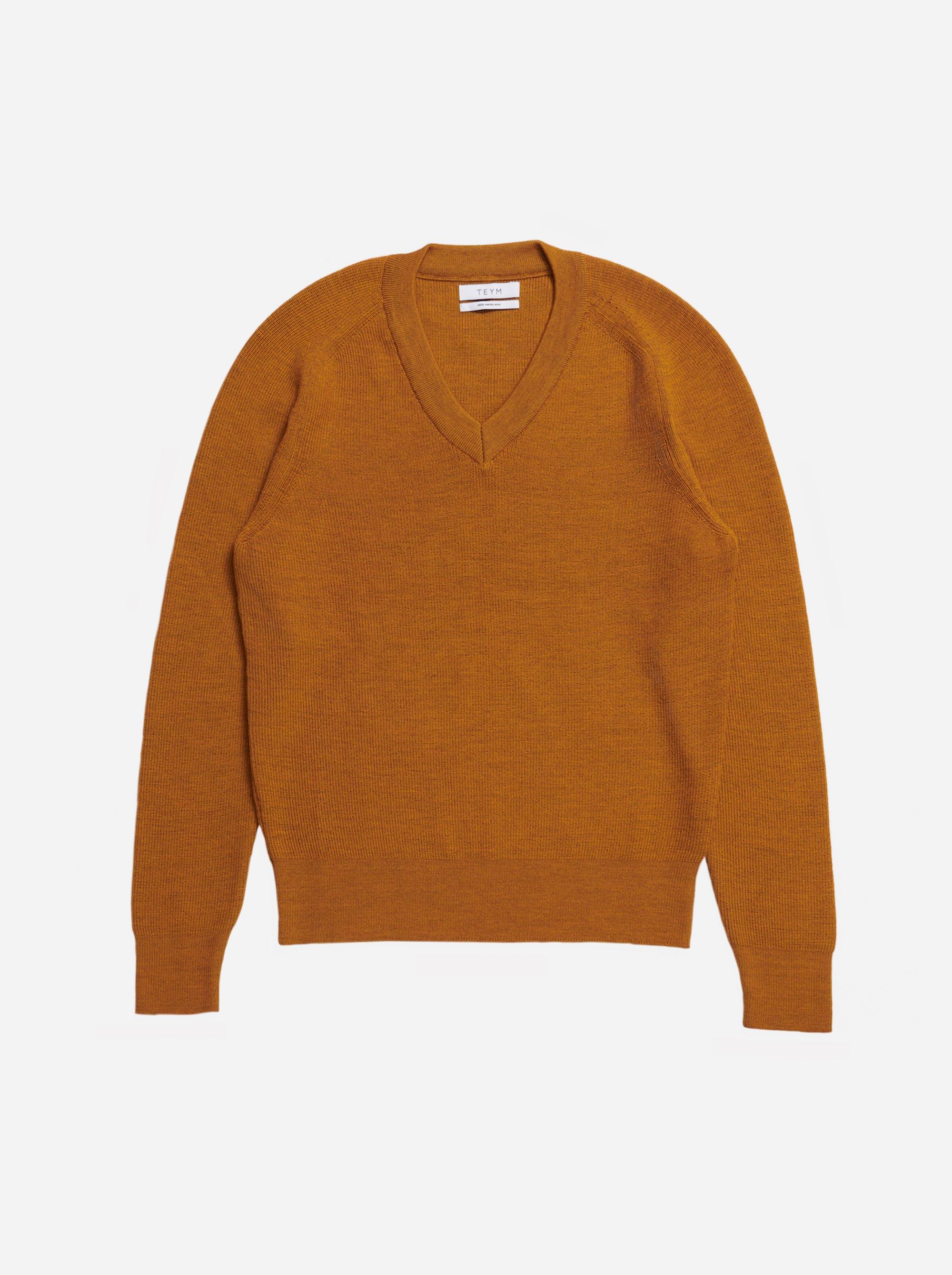 Teym - V-Neck - The Merino Sweater - Men - Mustard - 4