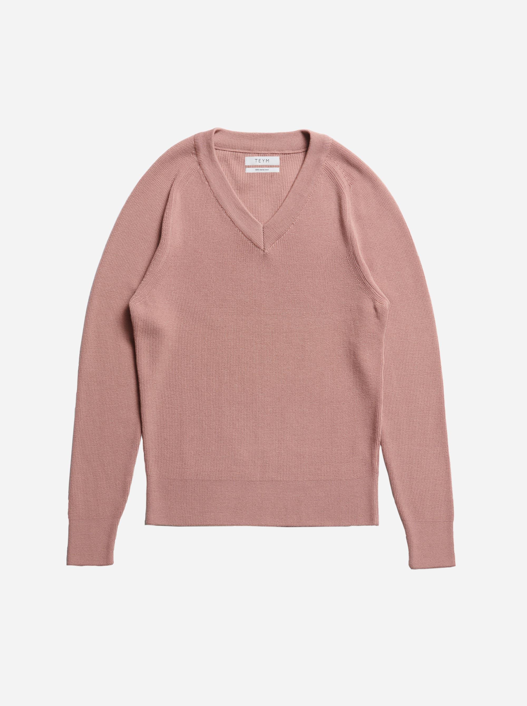 Teym - V-Neck - The Merino Sweater - Men - Pink - 5
