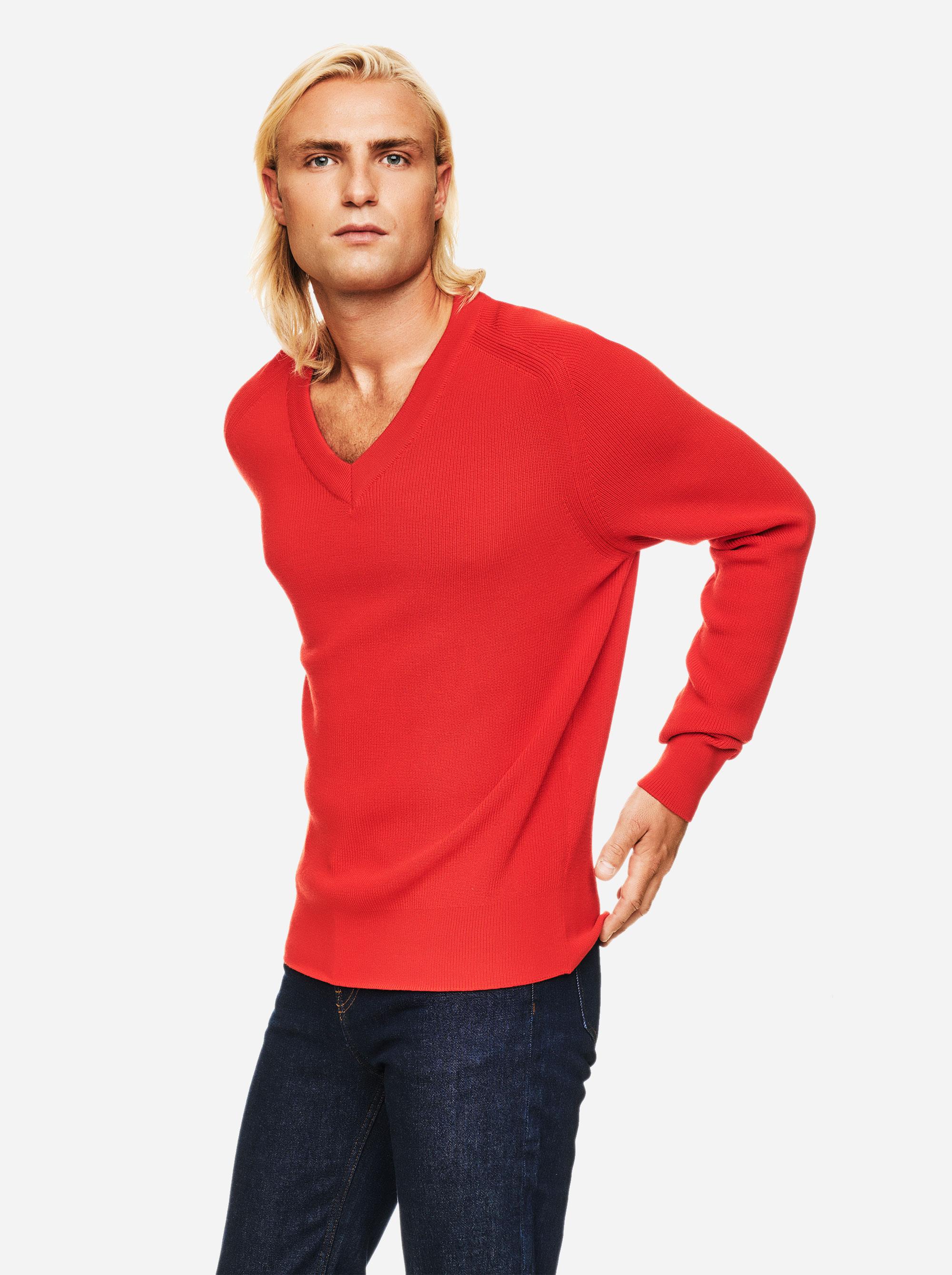Teym - V-Neck - The Merino Sweater - Men - Red - 2