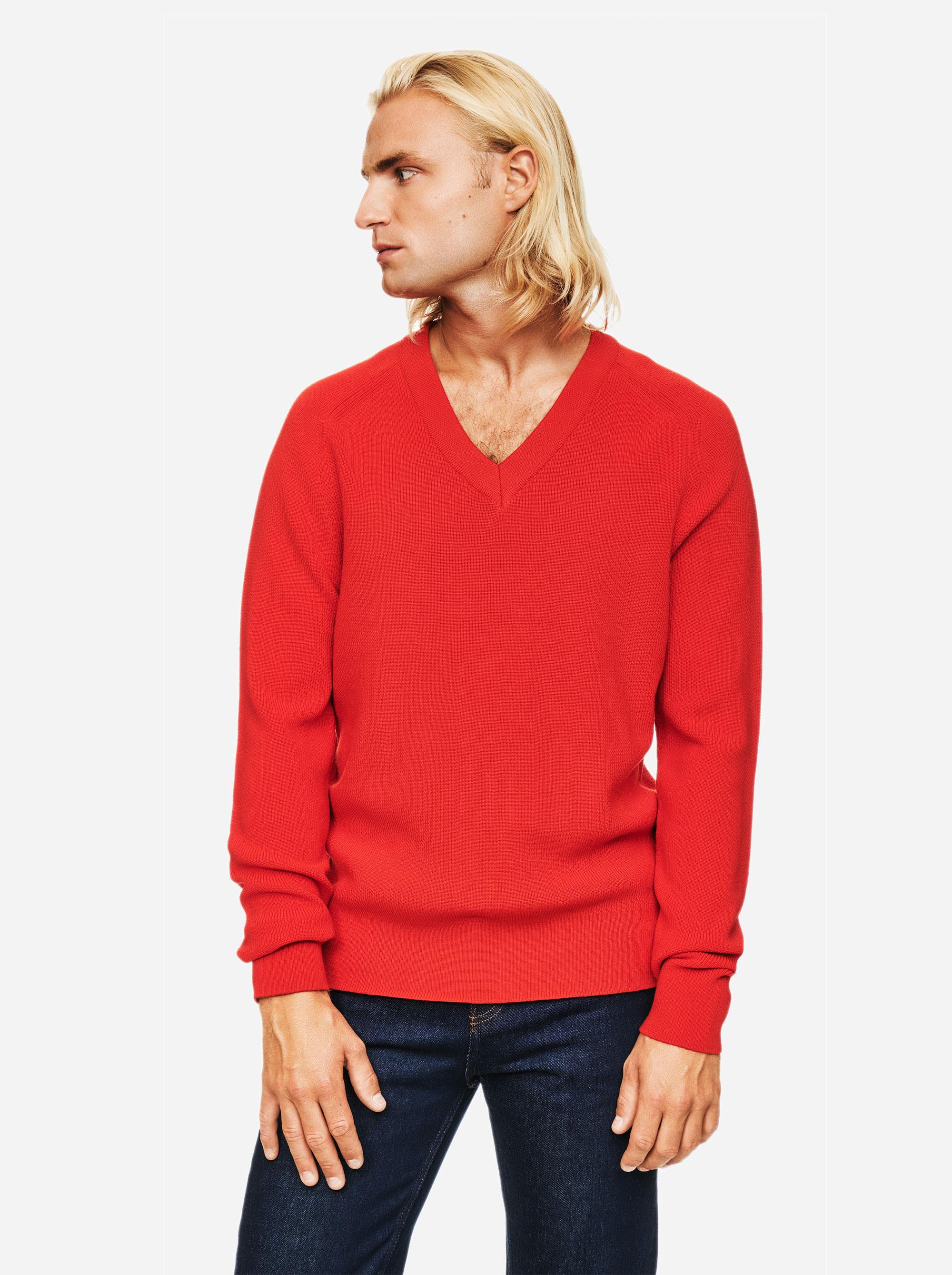Teym - V-Neck - The Merino Sweater - Men - Red - 4