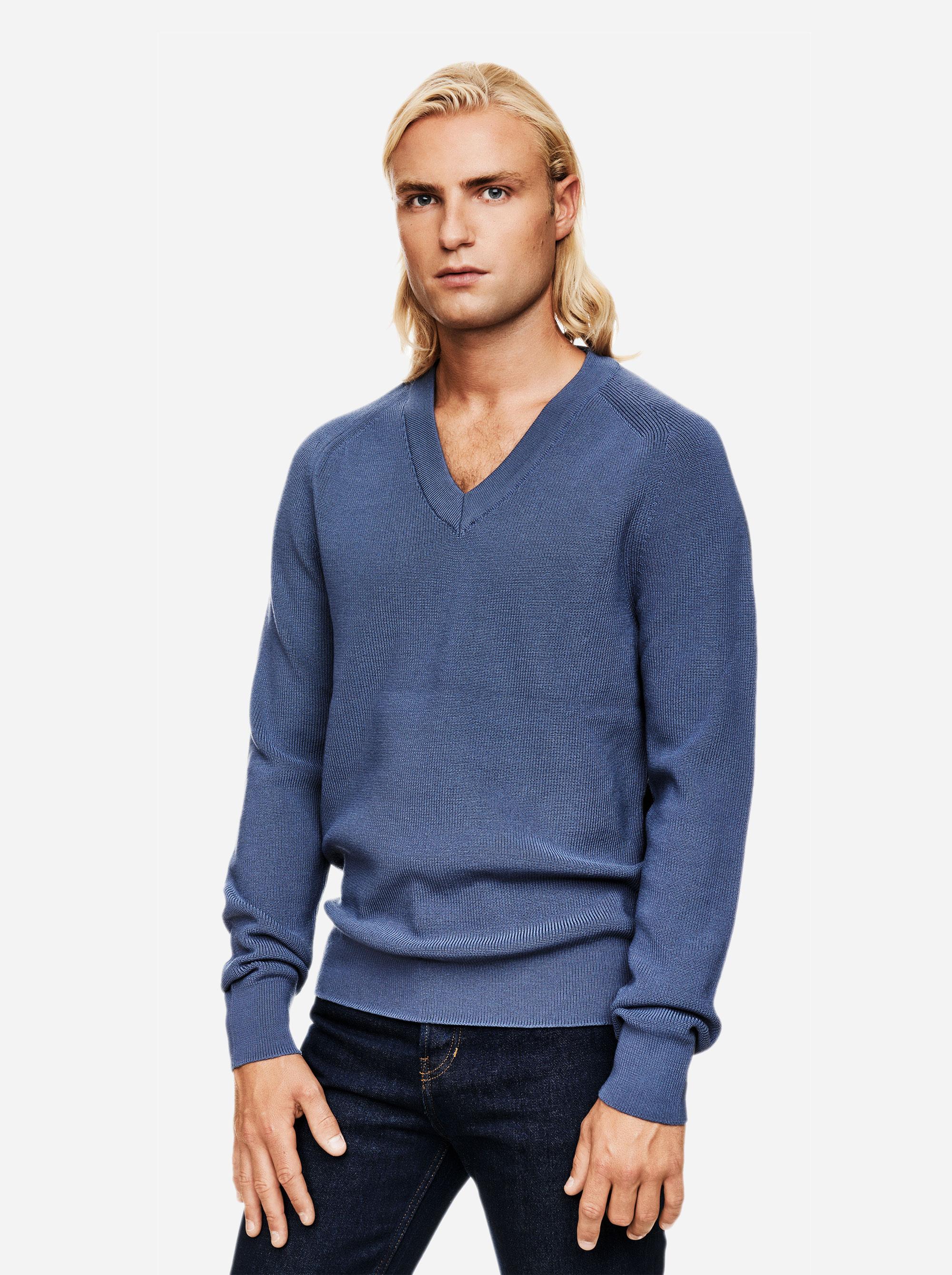 Teym - V-Neck - The Merino Sweater - Men - Sky blue - 3