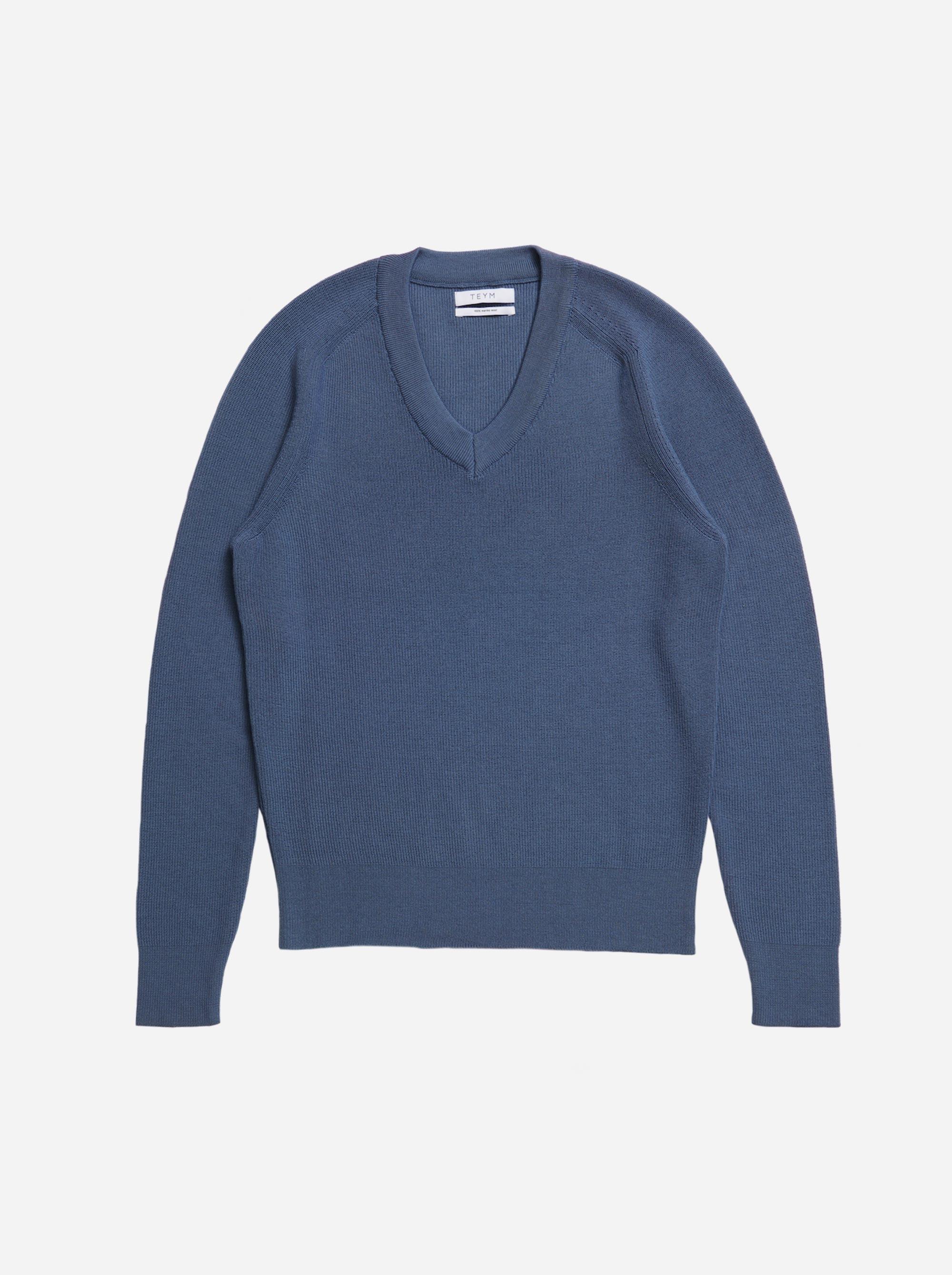 Teym - V-Neck - The Merino Sweater - Men - Sky blue - 4
