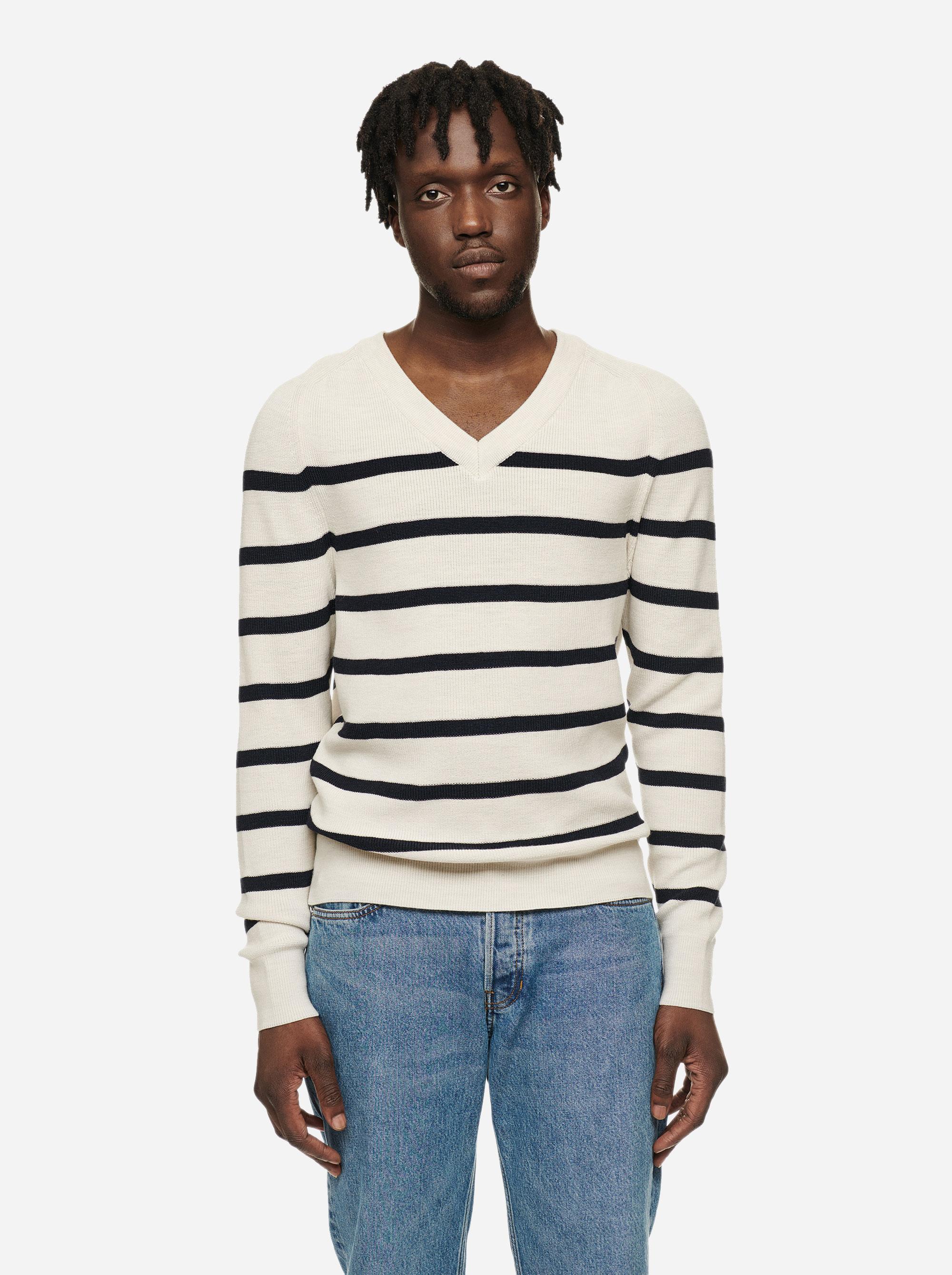 Teym - V-Neck - The Merino Sweater - Men - Striped - 3