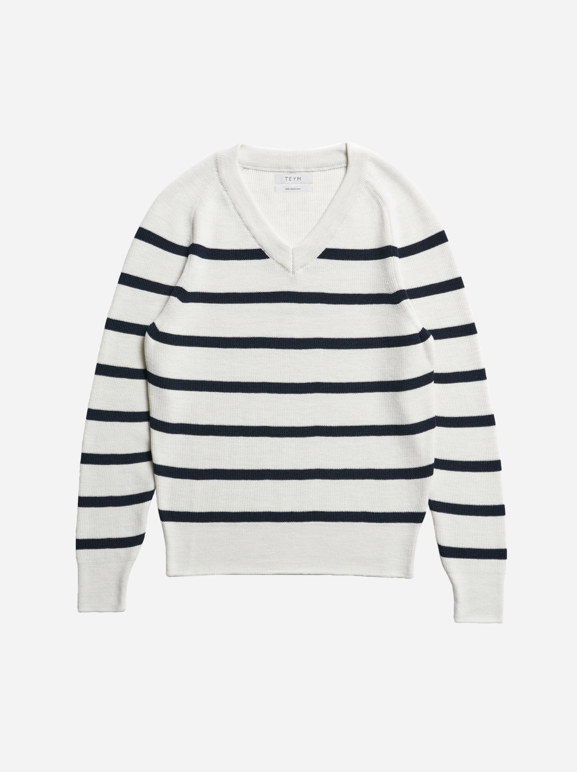 Teym - V-Neck - The Merino Sweater - Men - Striped - 4