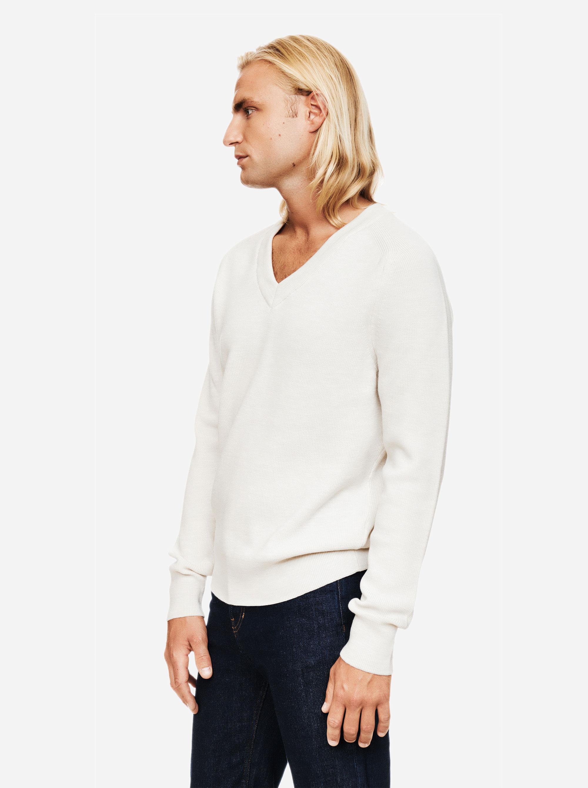 Teym - V-Neck - The Merino Sweater - Men - White - 1