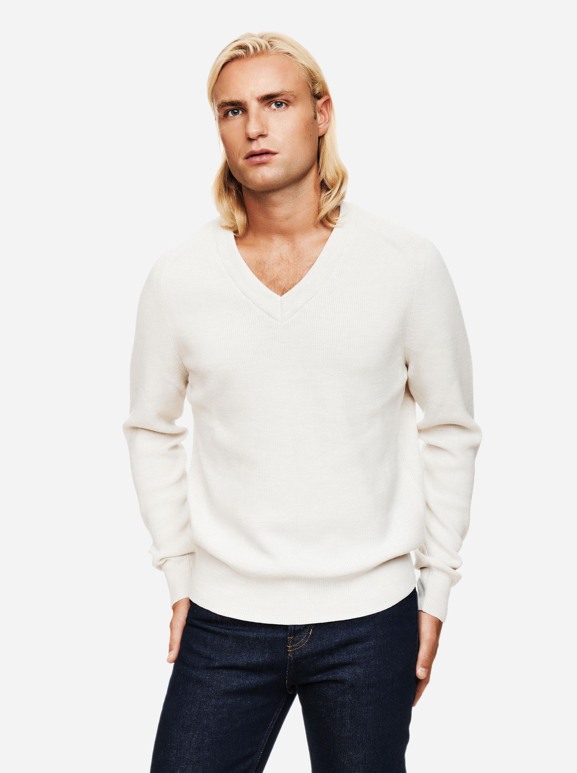 Teym - V-Neck - The Merino Sweater - Men - White - 3