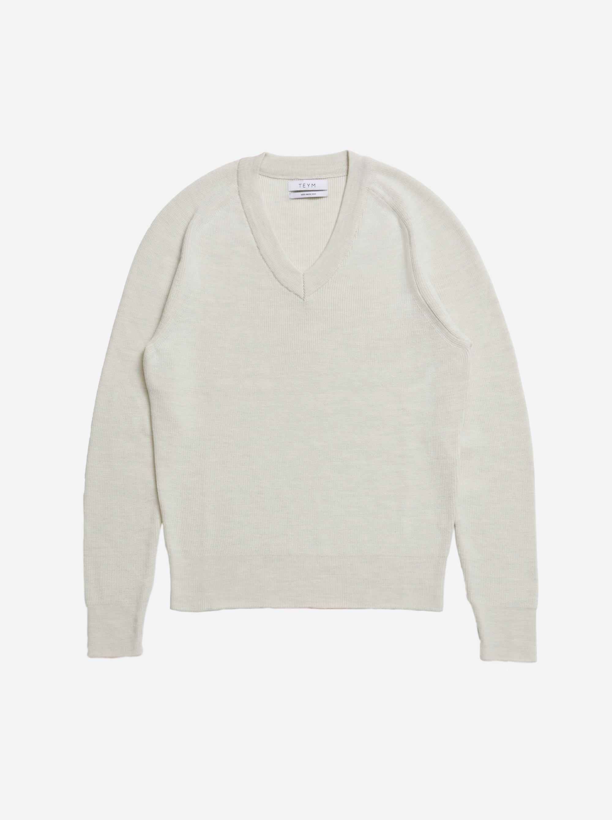 Teym - V-Neck - The Merino Sweater - Men - White - 4