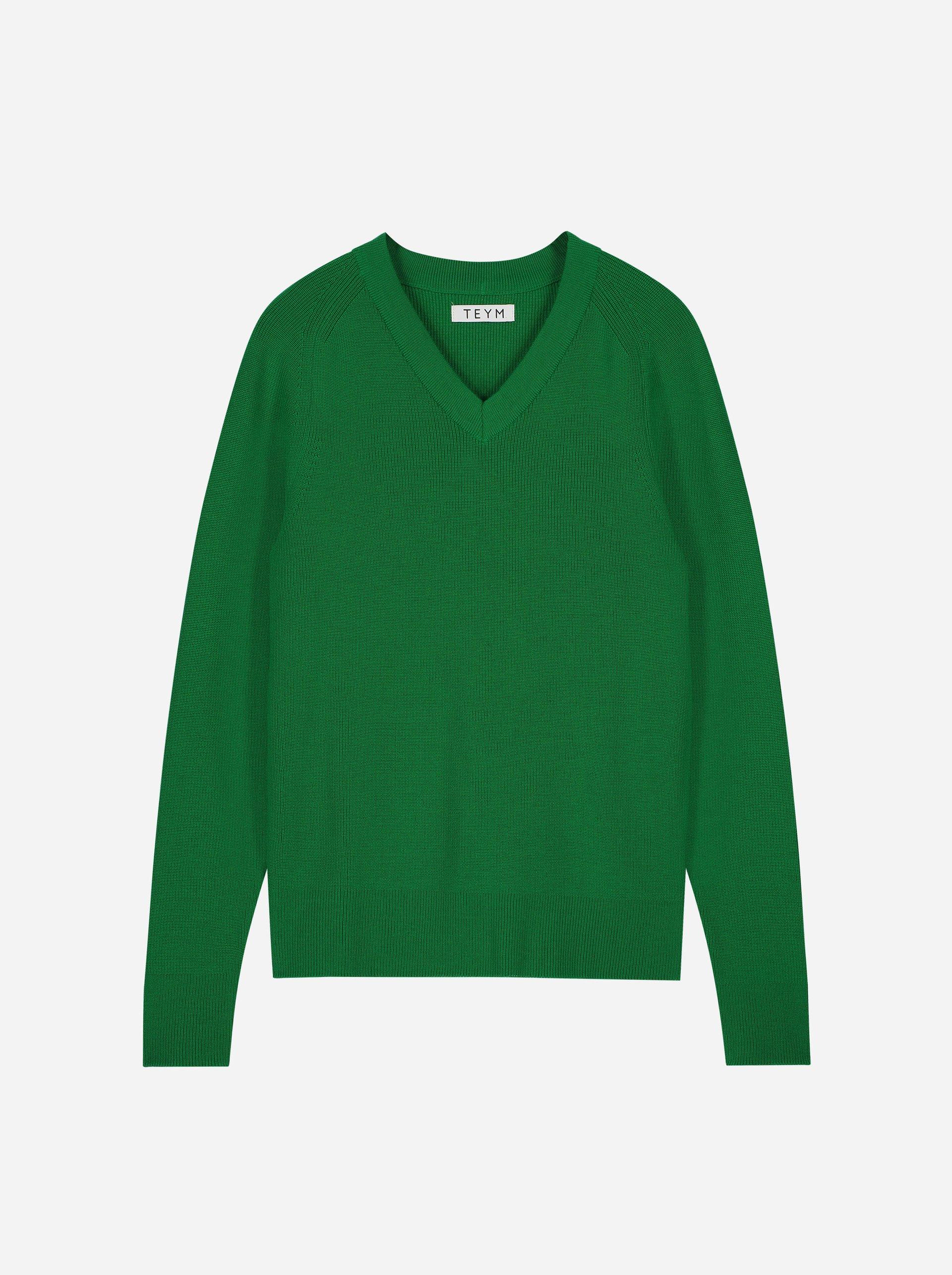Teym - V-Neck - The Merino Sweater - Women - Bright Green - 4