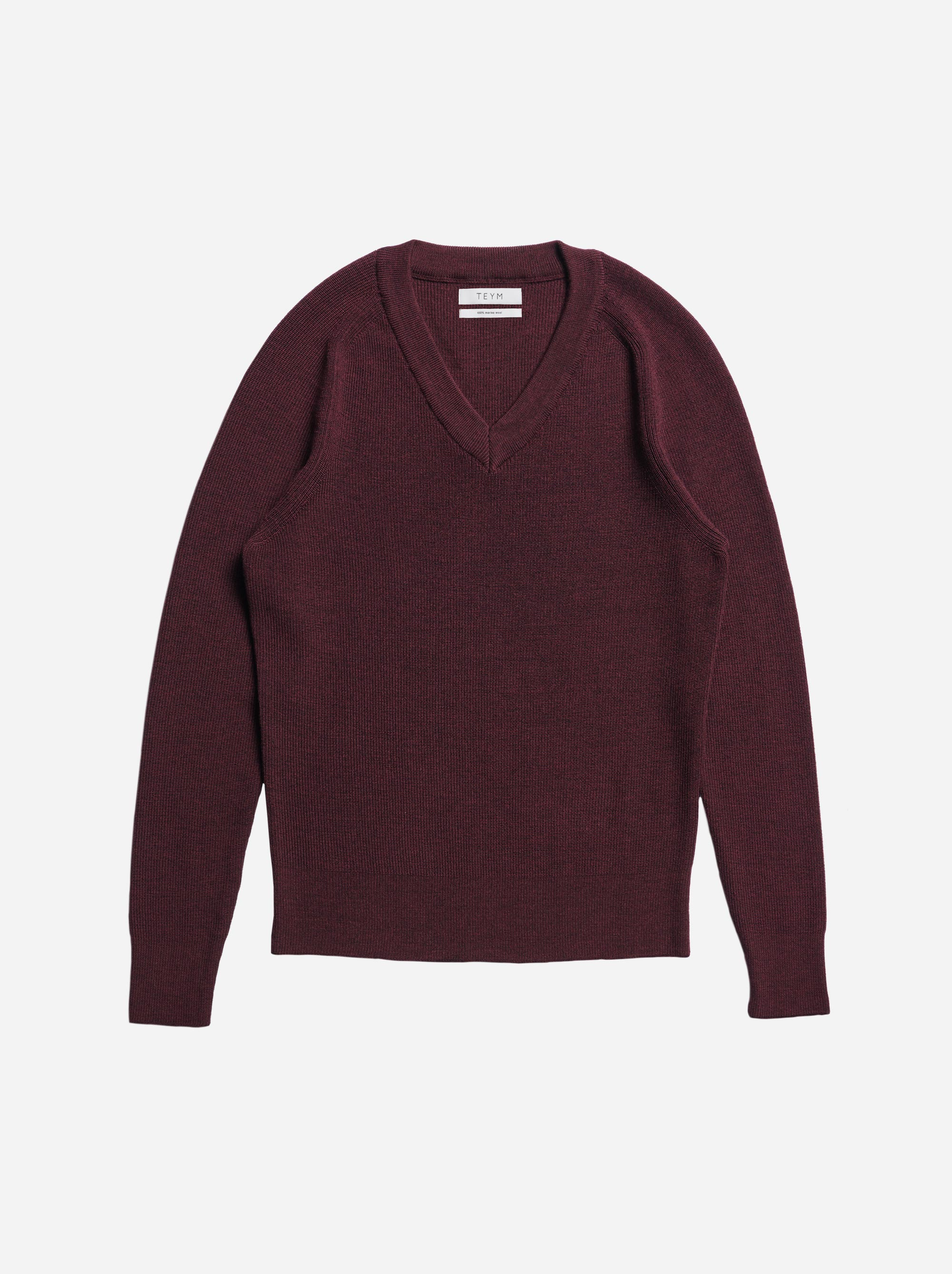 Teym - V-Neck - The Merino Sweater - Women - Burgundy - 4
