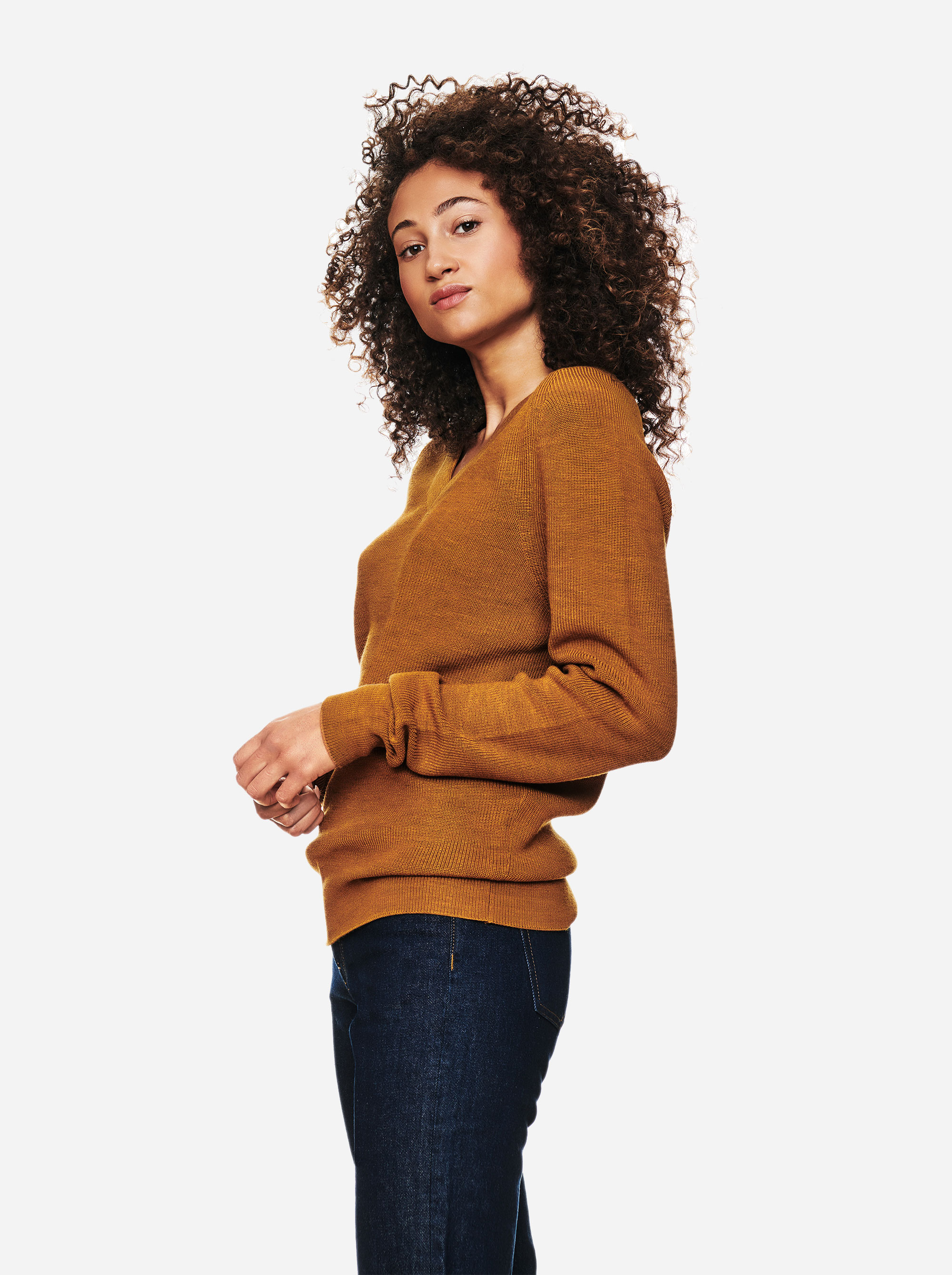 Teym - V-Neck - The Merino Sweater - Women - Mustard - 1