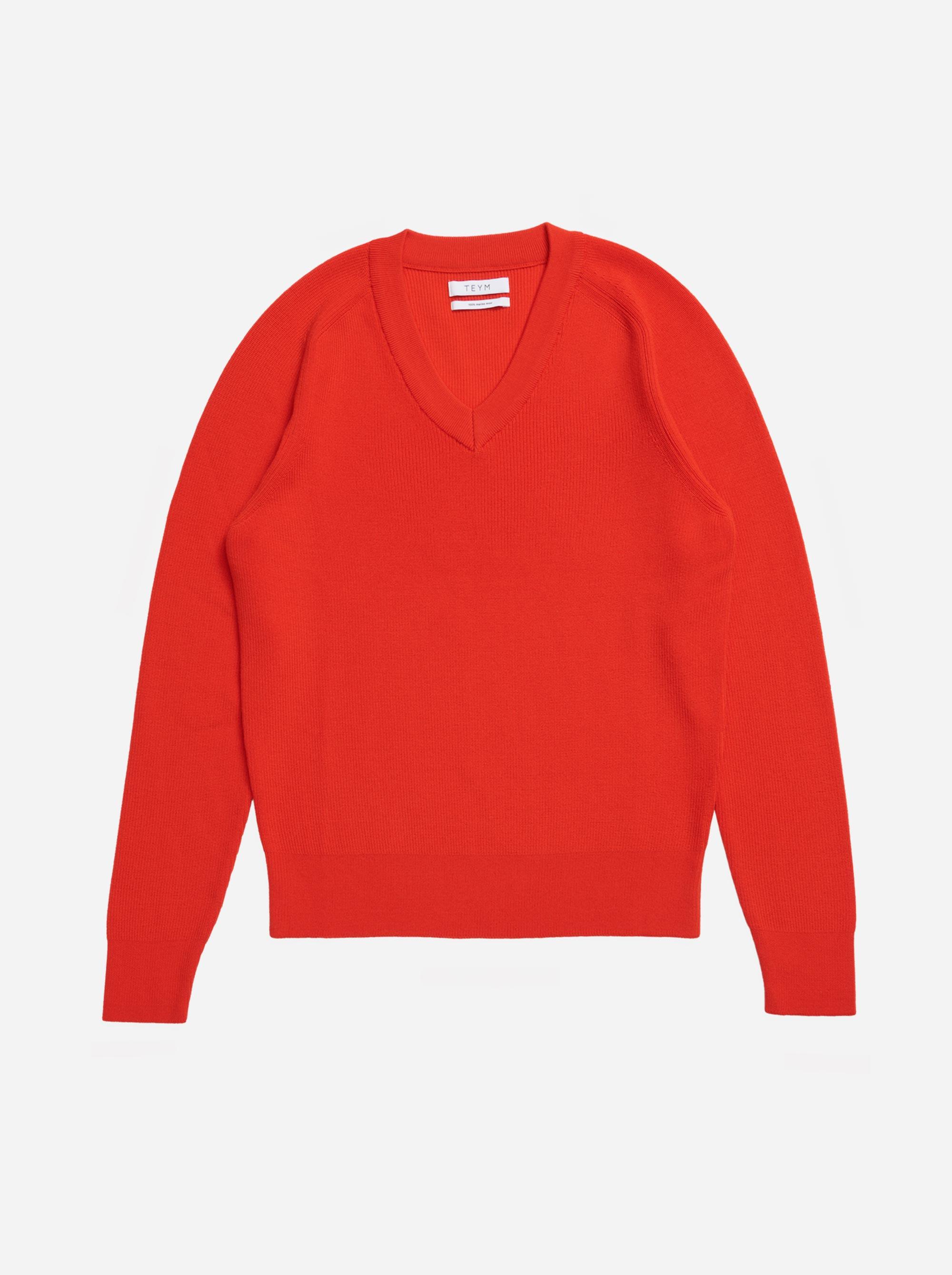 Teym - V-Neck - The Merino Sweater - Women - Red - 4