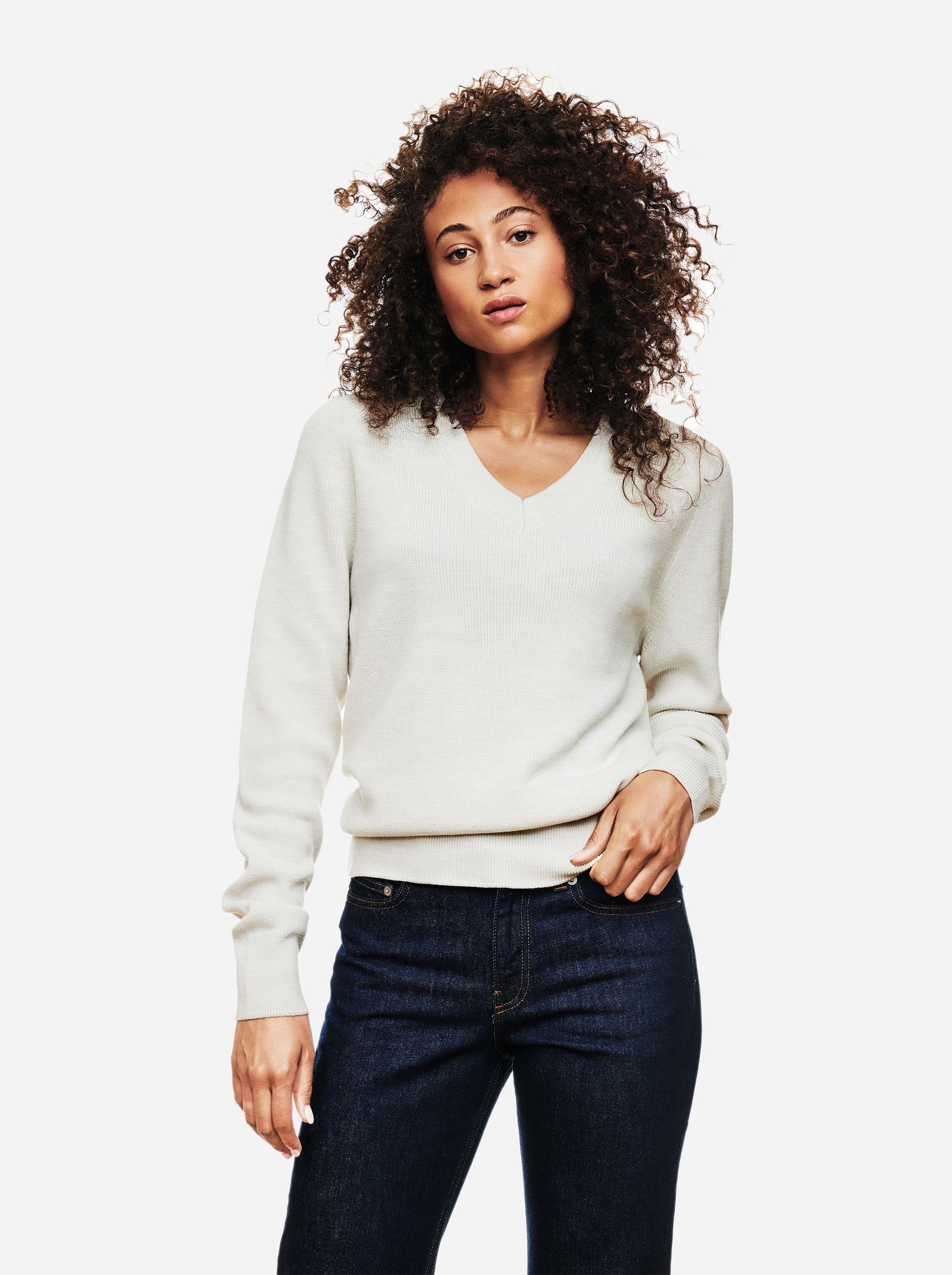 Teym - V-Neck - The Merino Sweater - Women - White - 1