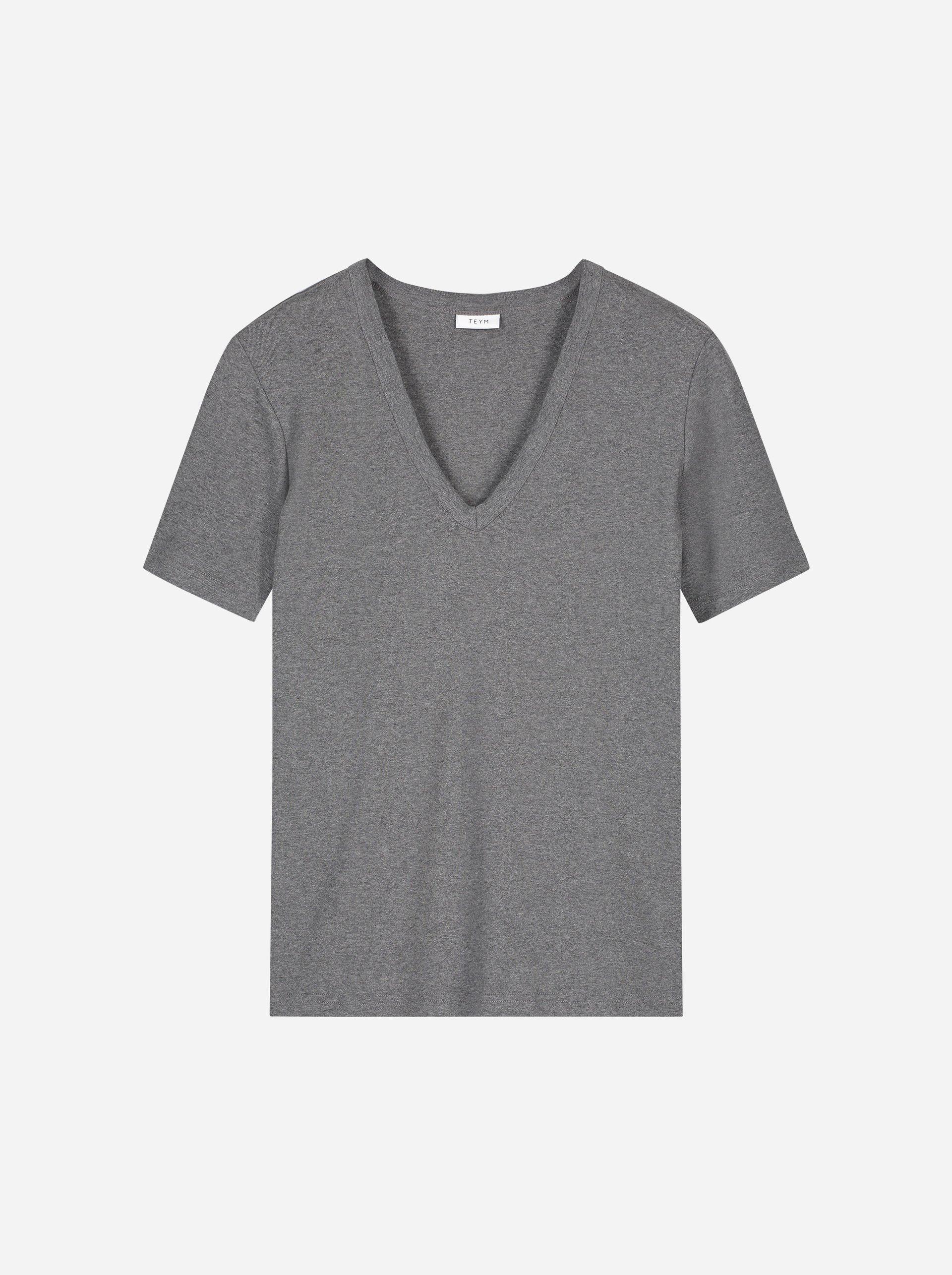 Teym - The T-Shirt - V-Neck - Women - Melange grey - 4B