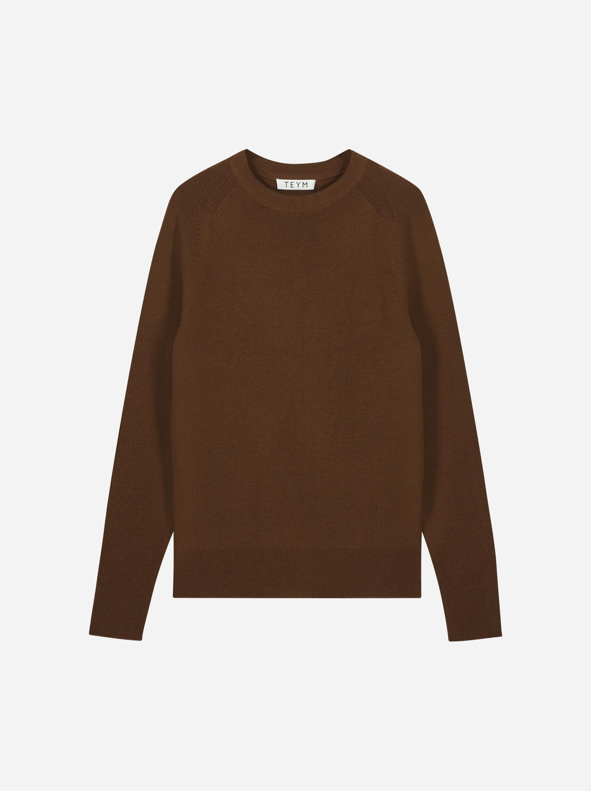 Teym_Merino-Sweater-Crewneck_Dark_Brown_front_1