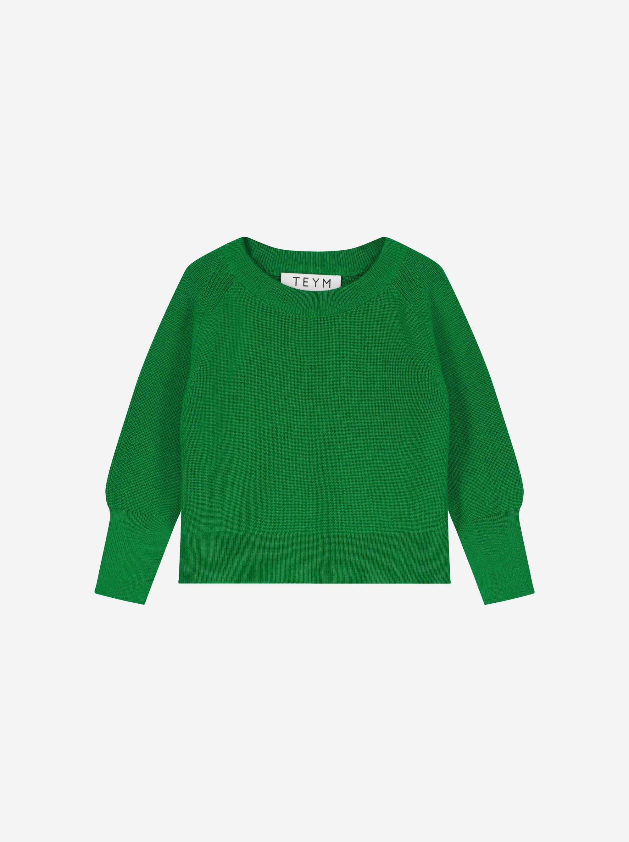 Teym_Merino Sweater_Bright Green_Kids_front_1